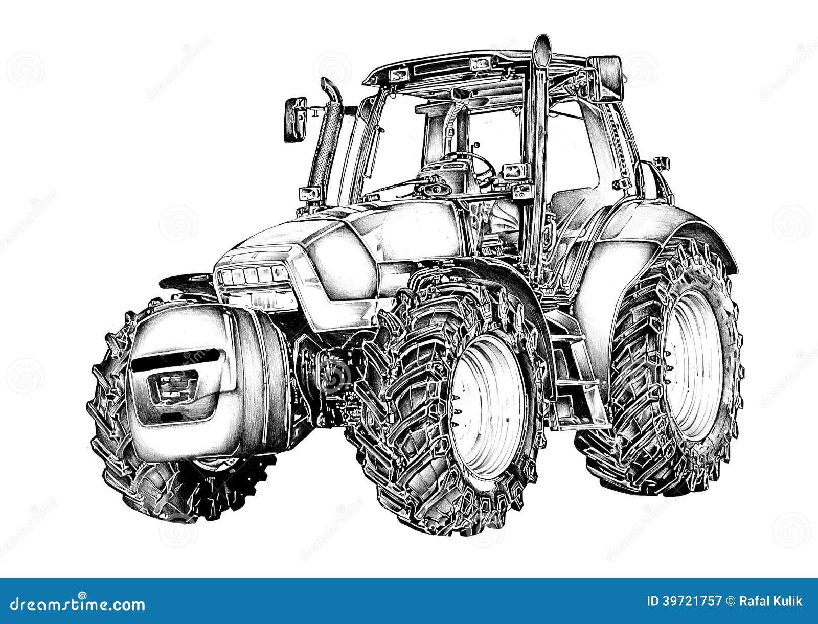 agricultural tractor illustration art drawing stock. Black Bedroom Furniture Sets. Home Design Ideas