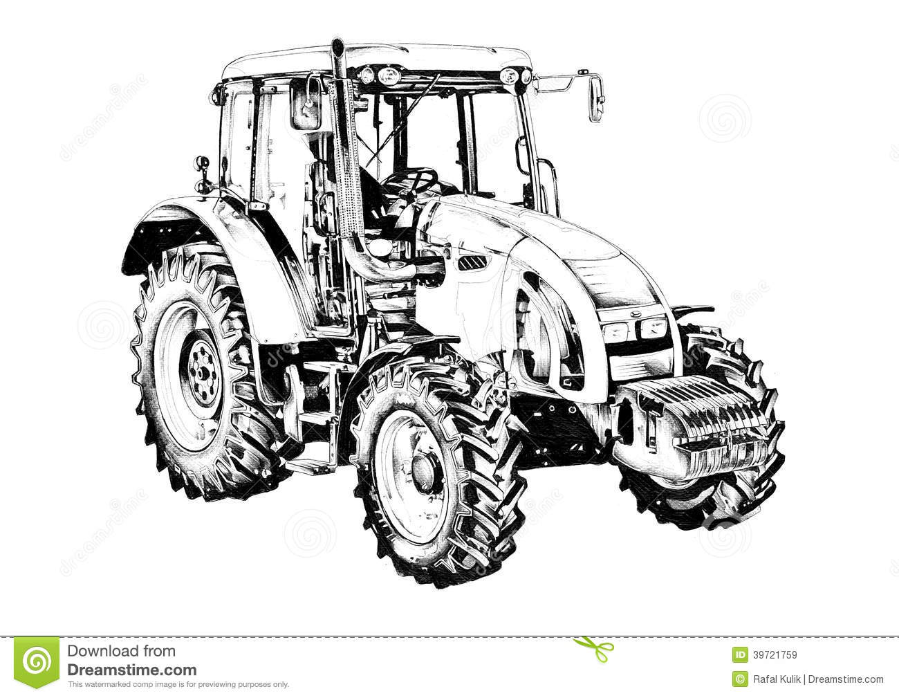 Royalty Free Stock Images Agricultural Tractor Illustration Art Drawing Image39721759