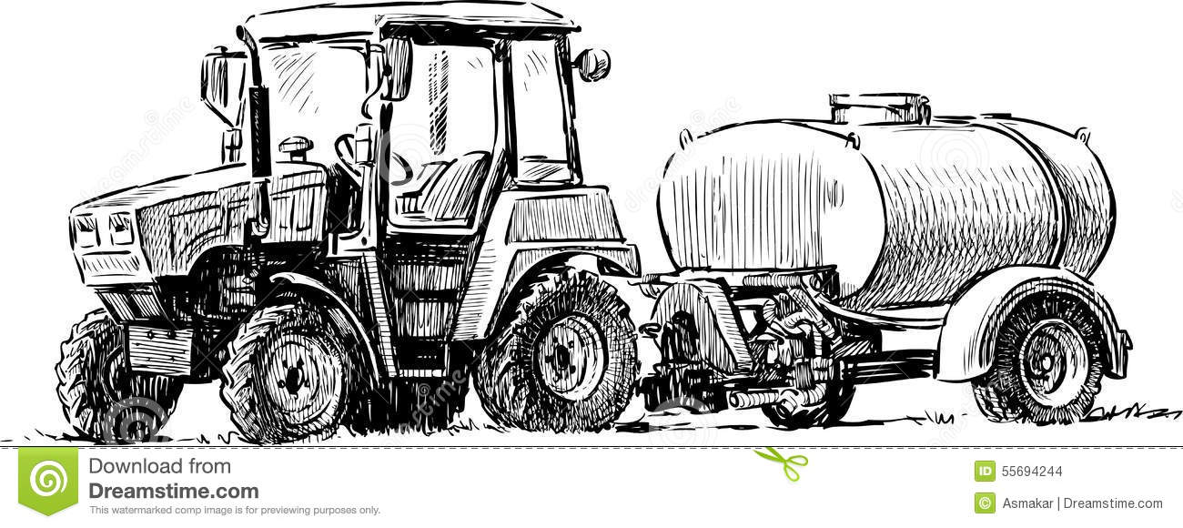 Drawing Man On Tractor : Agricultural tractor stock photo image