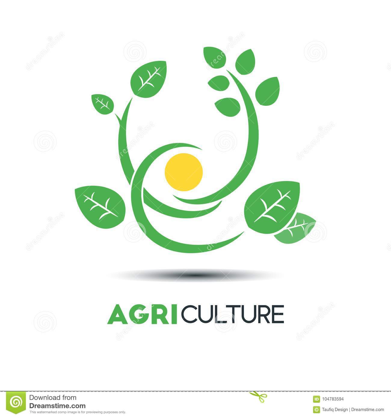 Agriculture Business Vector Logo Template. Green Leaf With Three ...