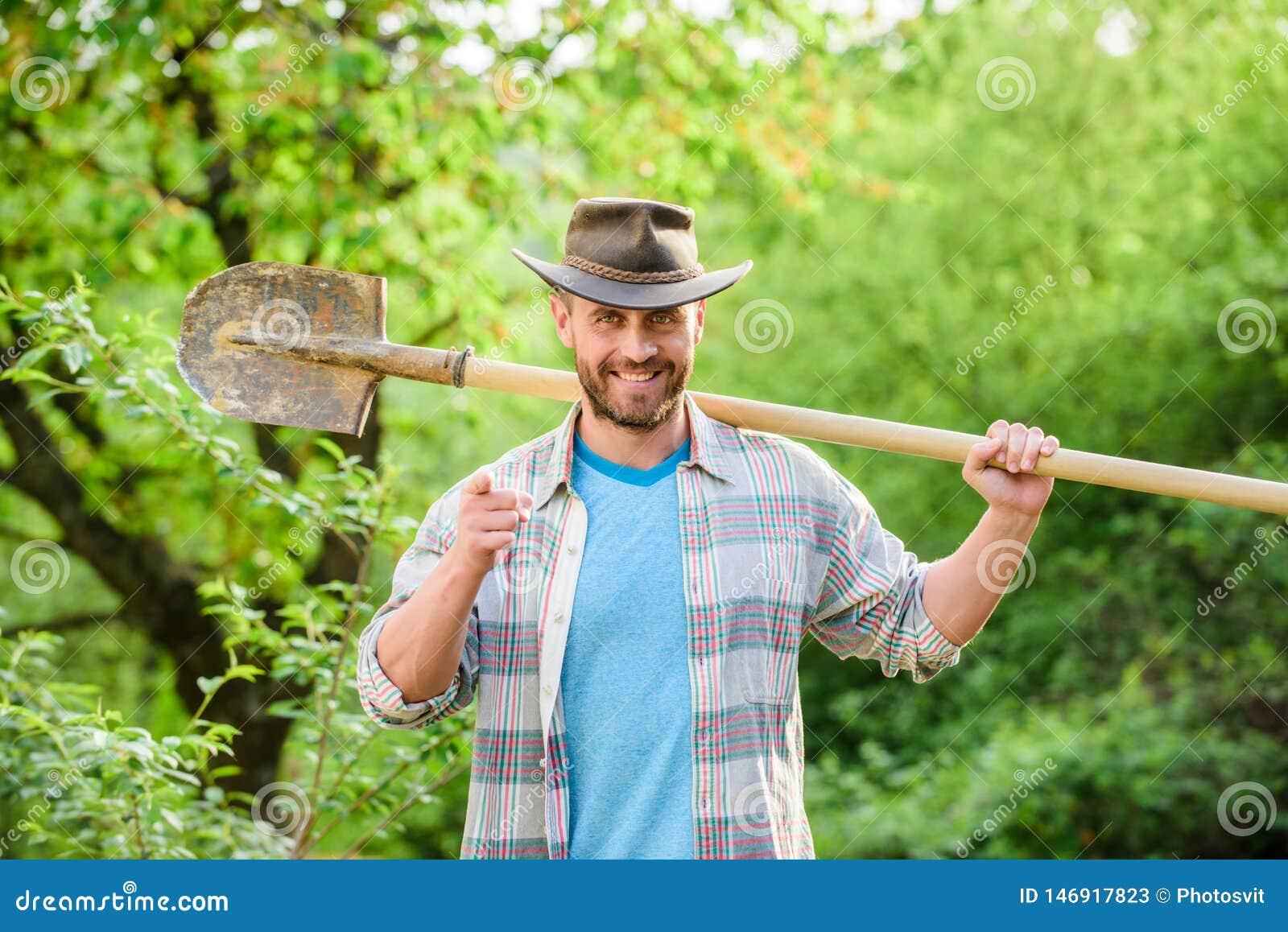 Agriculture et culture d agriculture ?quipement de jardin homme musculaire de ranch dans le chapeau de cowboy Ferme d Eco Agricul