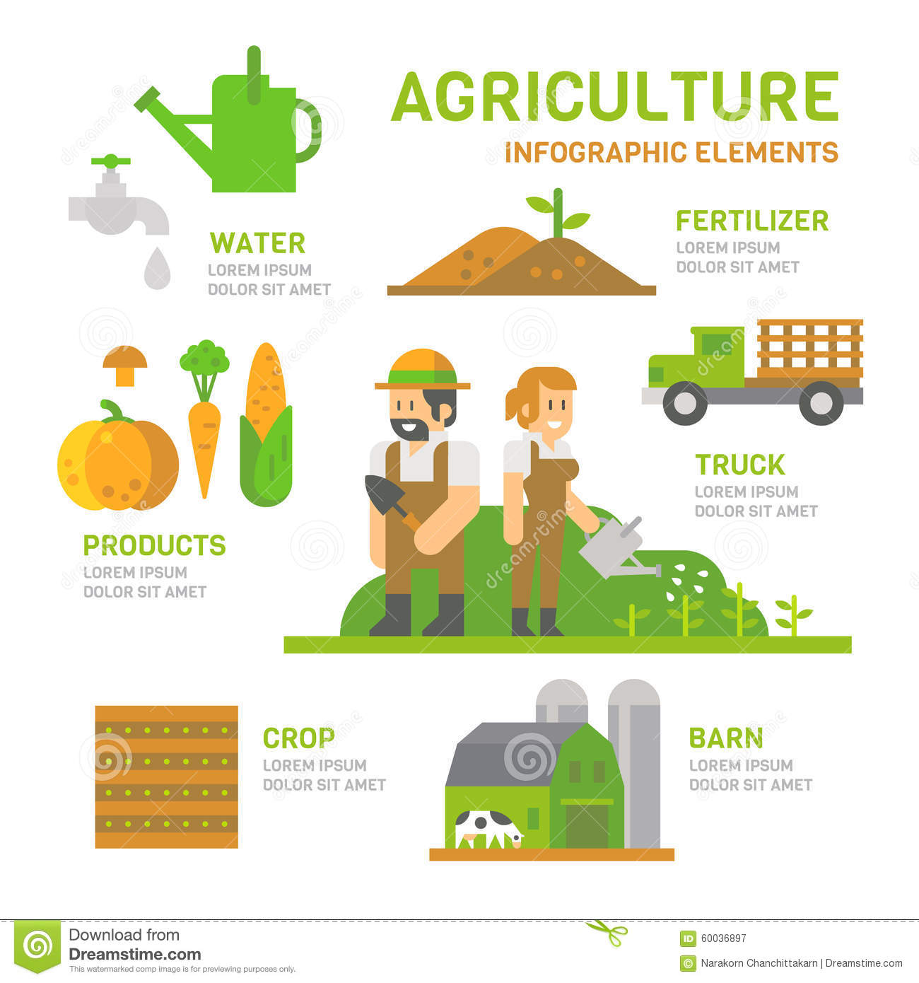 Agriculture Farm Flat Design Infographic Stock Vector