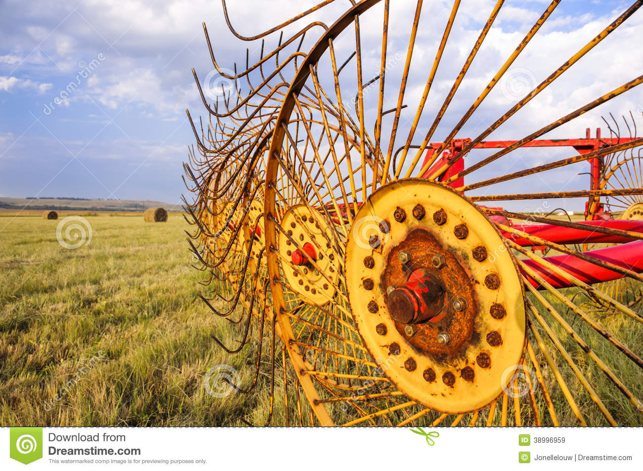Agriculture Hay Rake Machine For Bales Stock Image - Image
