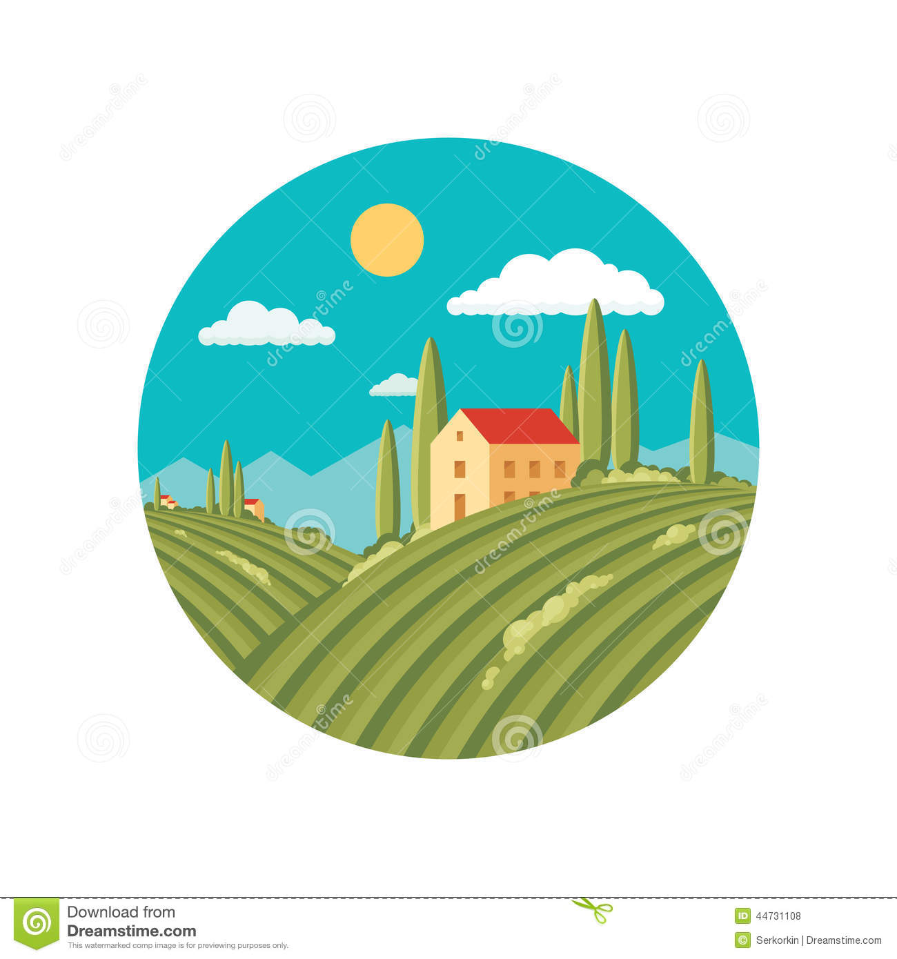 Agriculture Landscape With Vineyard Vector Abstract