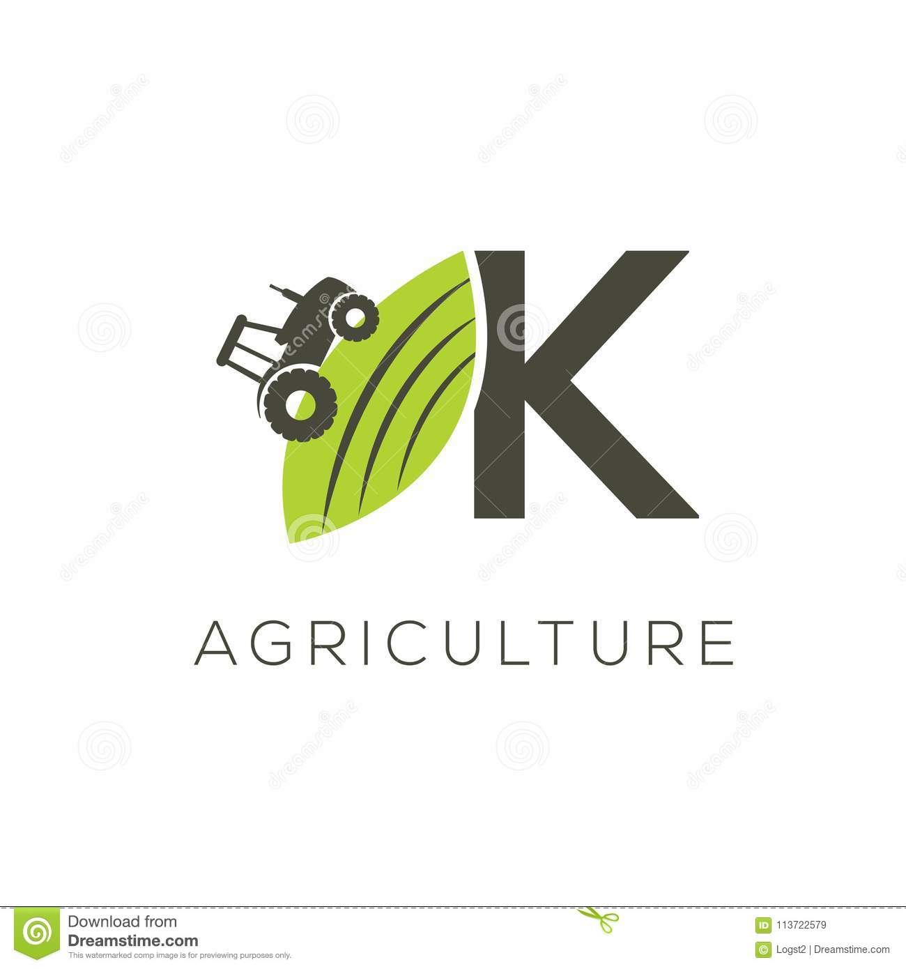 Agriculture logo letter K. Tractor icon. Green food emblem