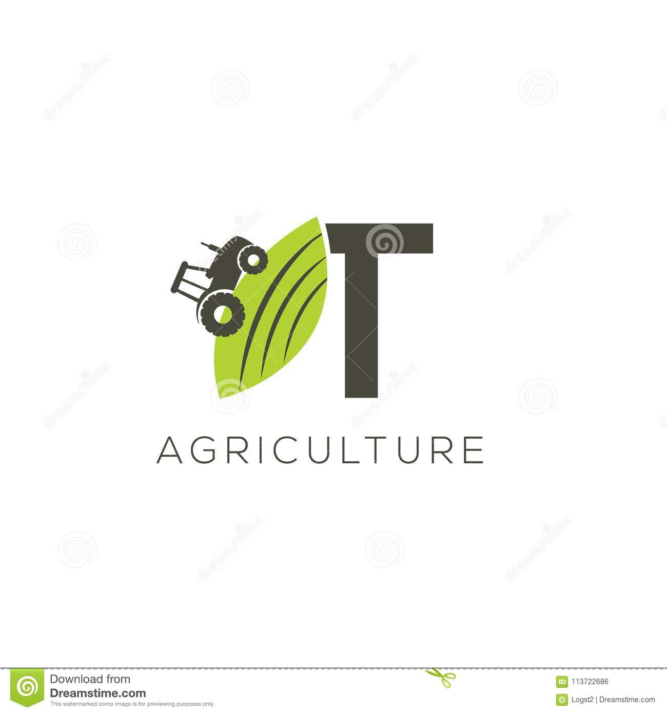 agriculture logo letter t tractor icon green food emblem