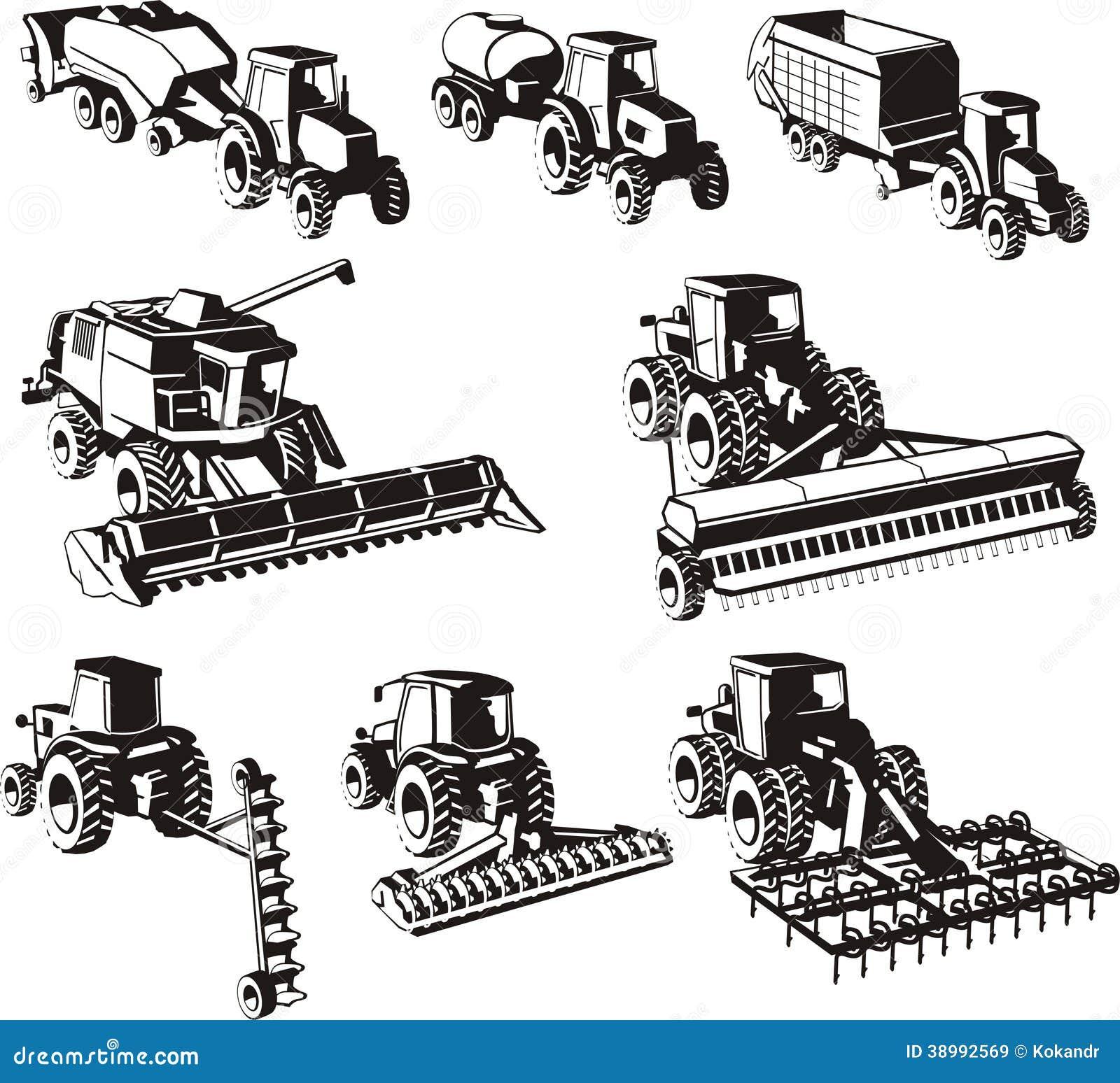 Farm Equipment Clip Art : Agriculture machines set stock vector illustration of