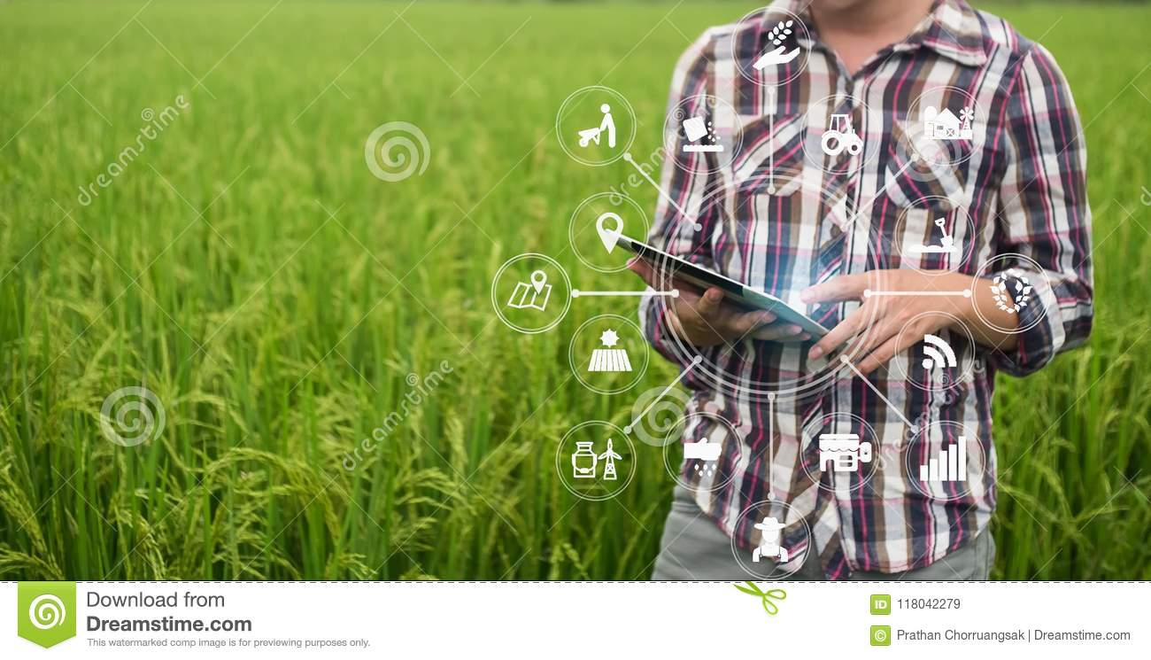 Agriculture Technology Farmer Man Using Tablet Computer