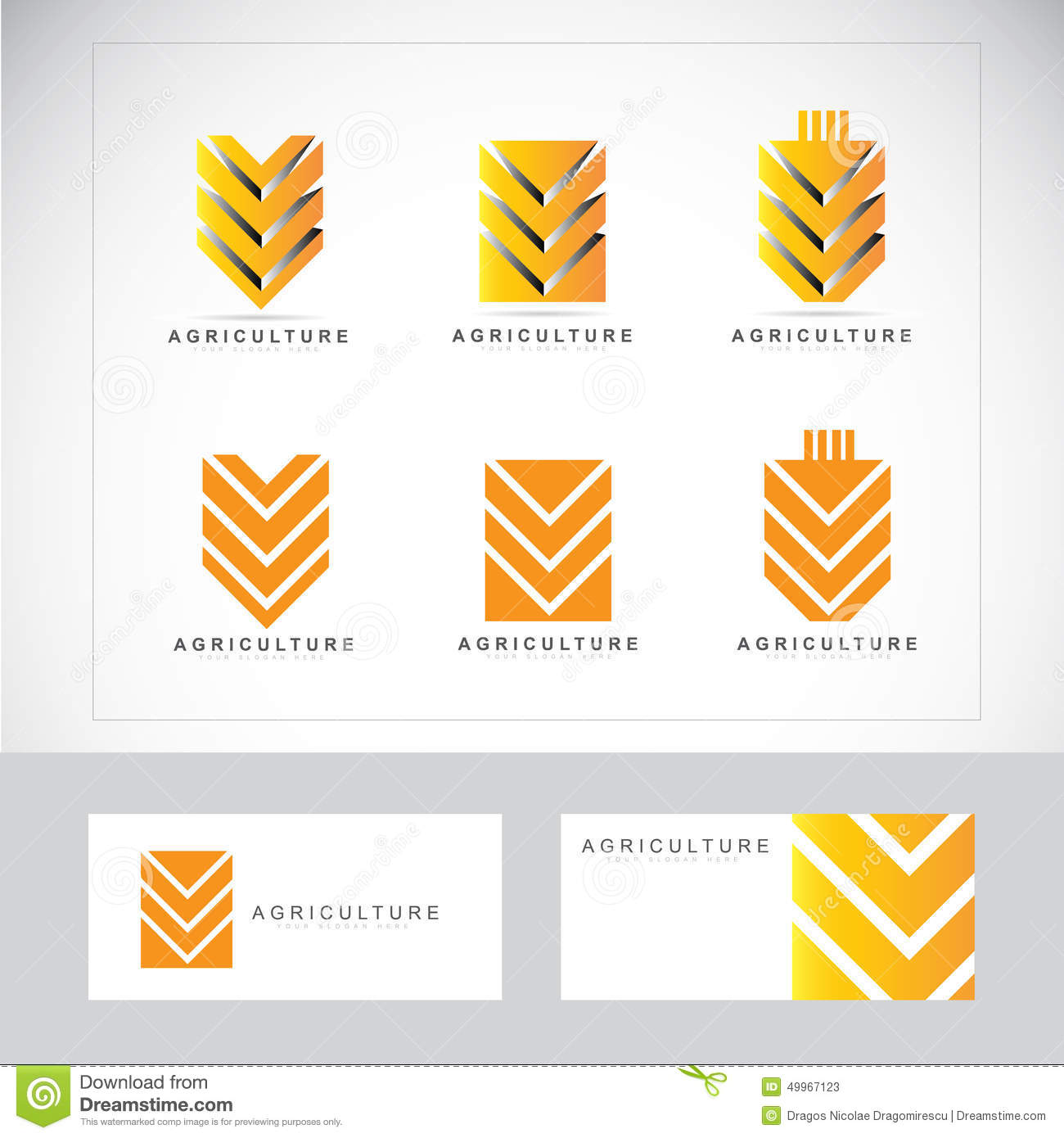 Agriculture logo with stylized wheat icon with business card template.