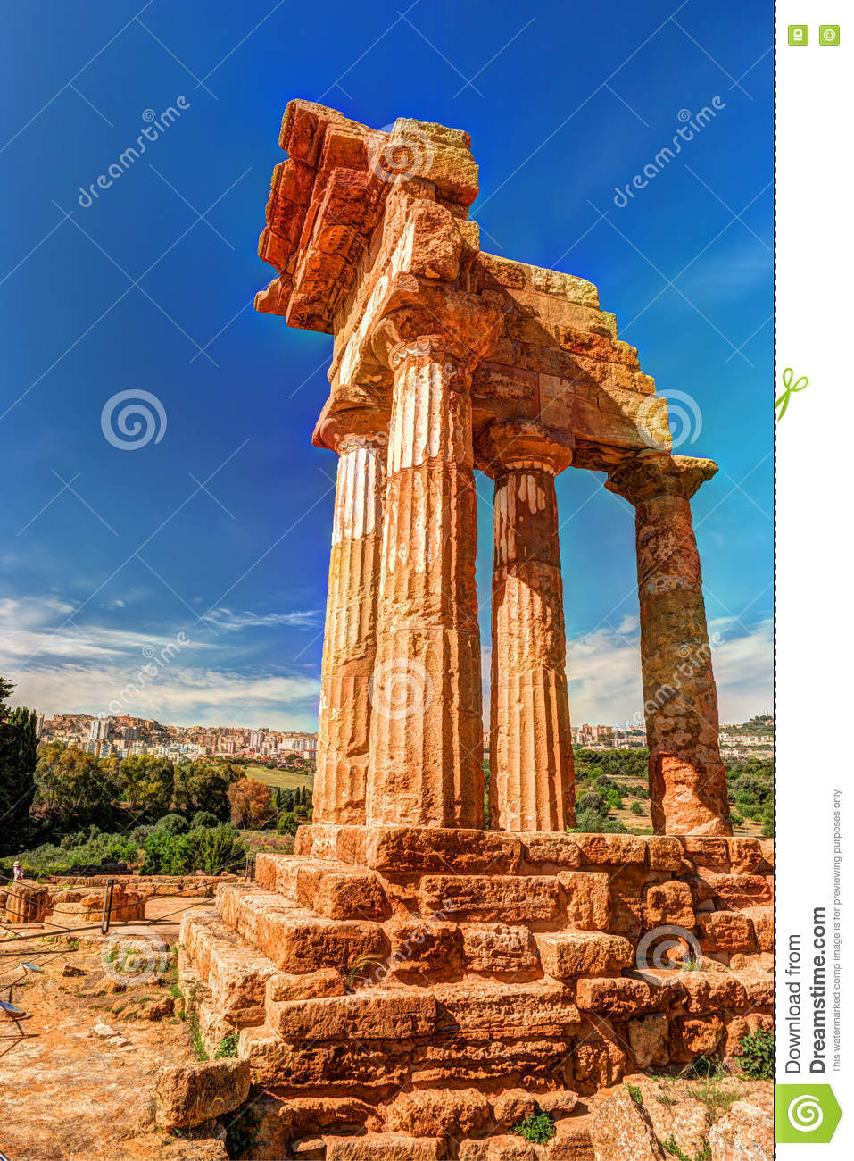 agrigento sicily temple of castor and pollux royalty free stock photo. Black Bedroom Furniture Sets. Home Design Ideas