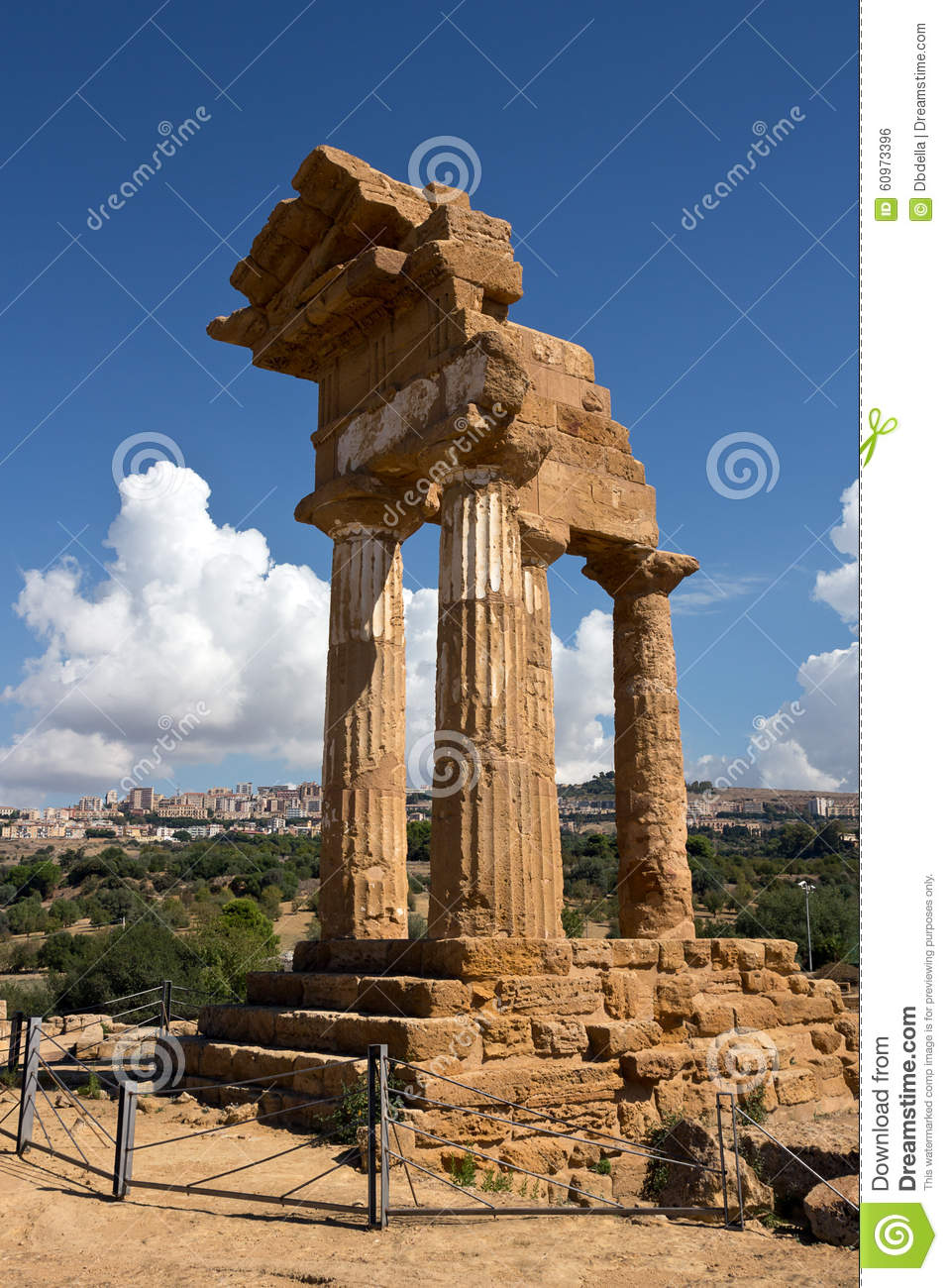 agrigento the temple of castor and pollux symbol of the city stock photo image 60973396. Black Bedroom Furniture Sets. Home Design Ideas