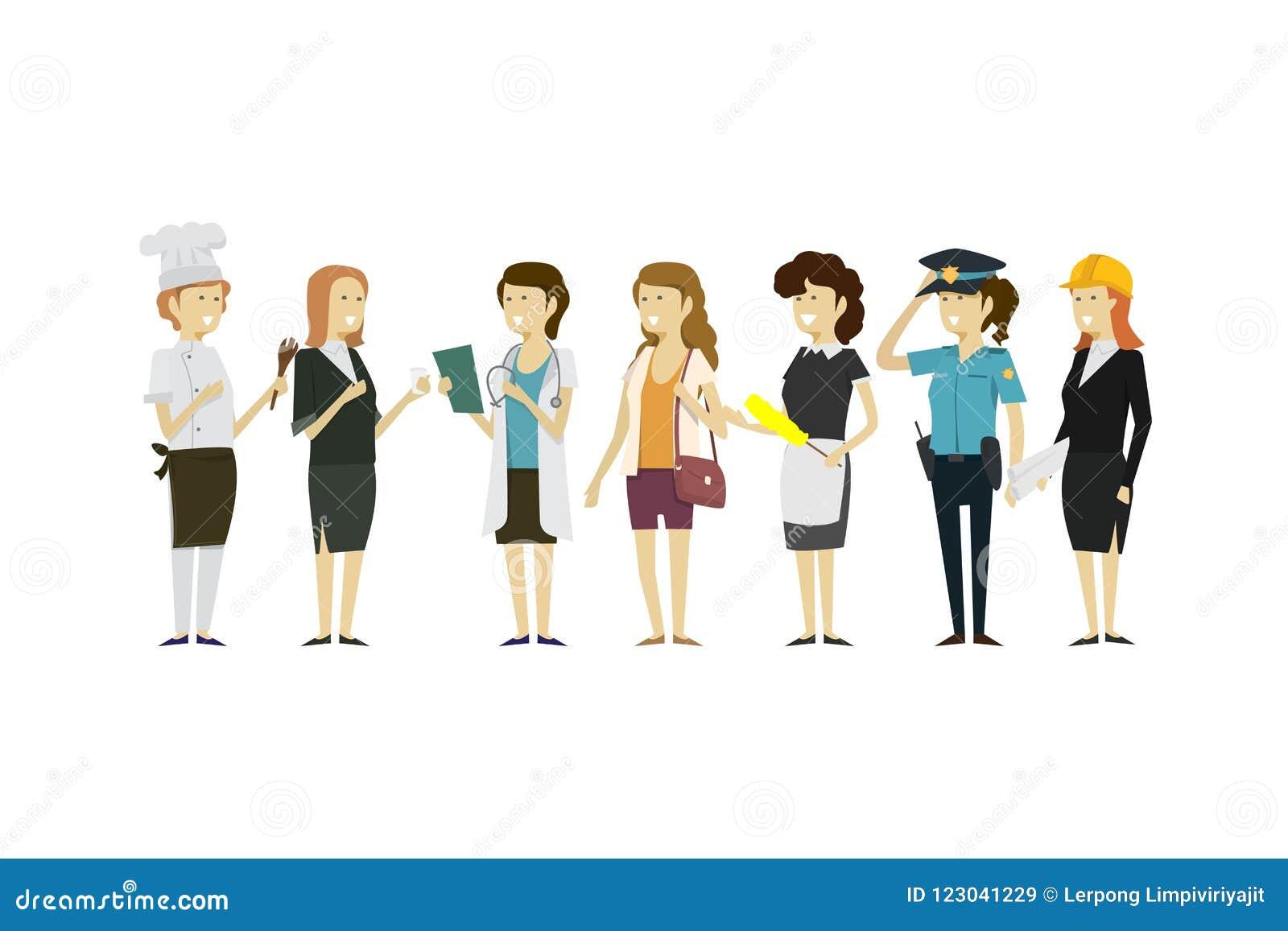 Agrupe las profesiones de la gente un aislante plano del estilo de la colección diversa