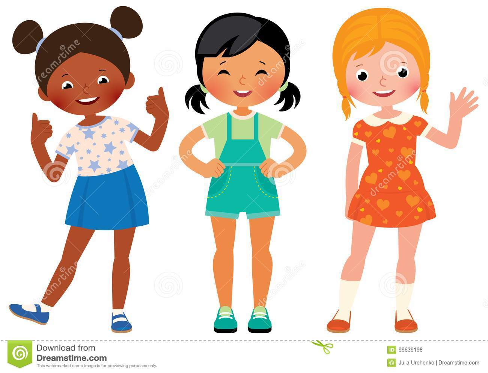 Meninos E Meninas De Nacionalidades Diferentes Childre: Agrupe Três Amigas Das Crianças De Nacionalidades