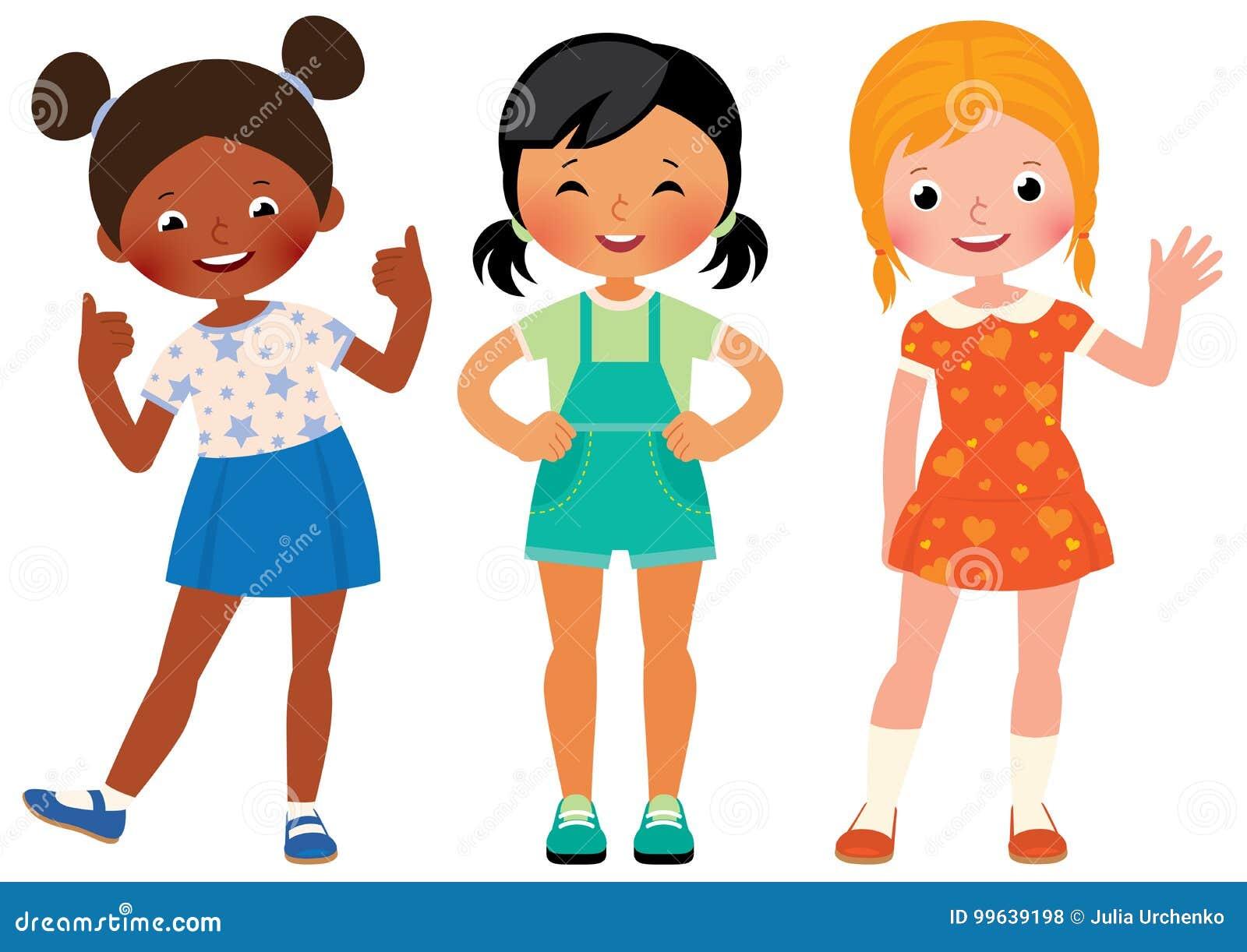 Agrupe a tres novias de los niños de diversas nacionalidades Afri