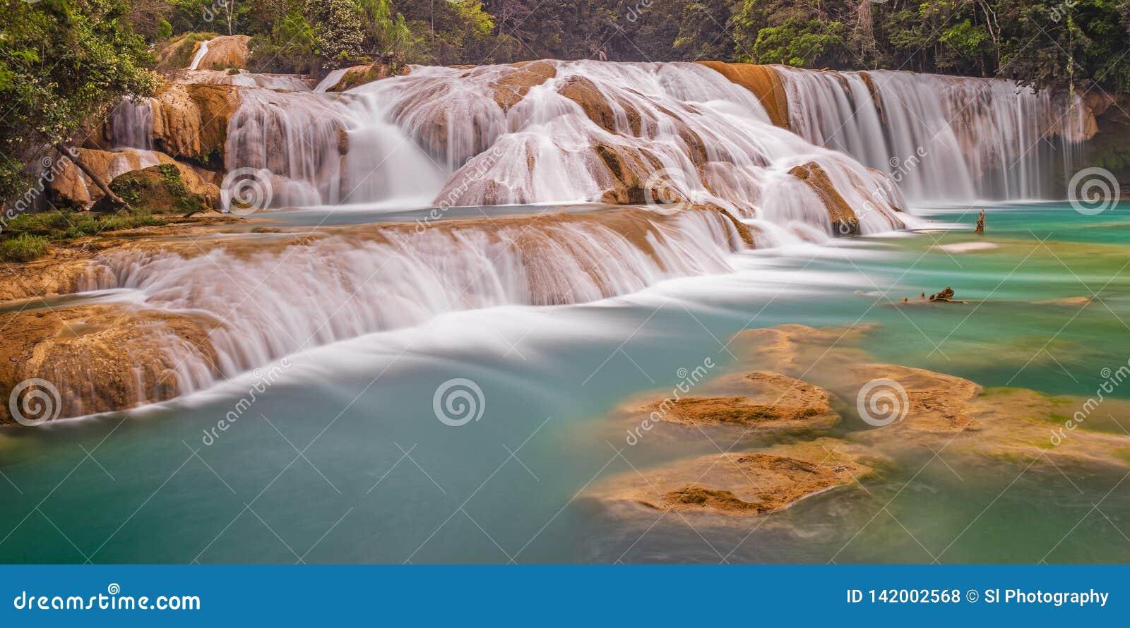 Agua Azul kaskady Tęsk ujawnienie, Meksyk