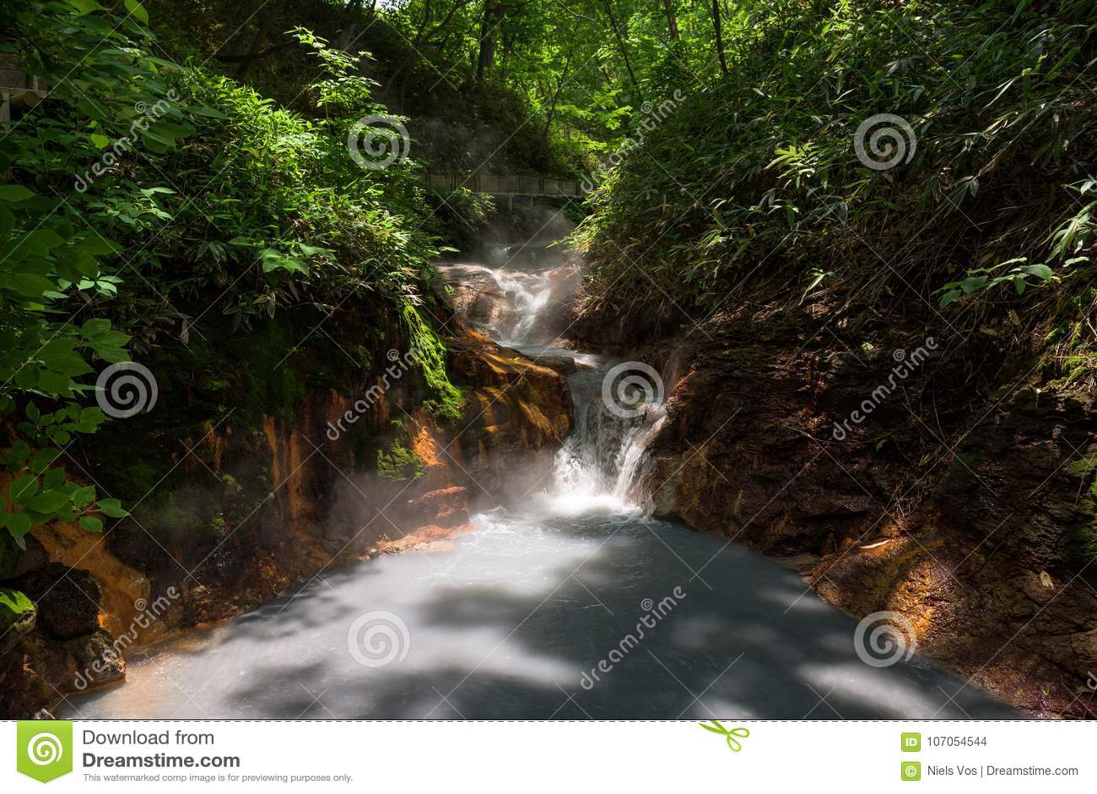 Agua caliente del río de Oyunumagawa que fluye de la charca de Oyunuma a través del valle Jigokudani del infierno