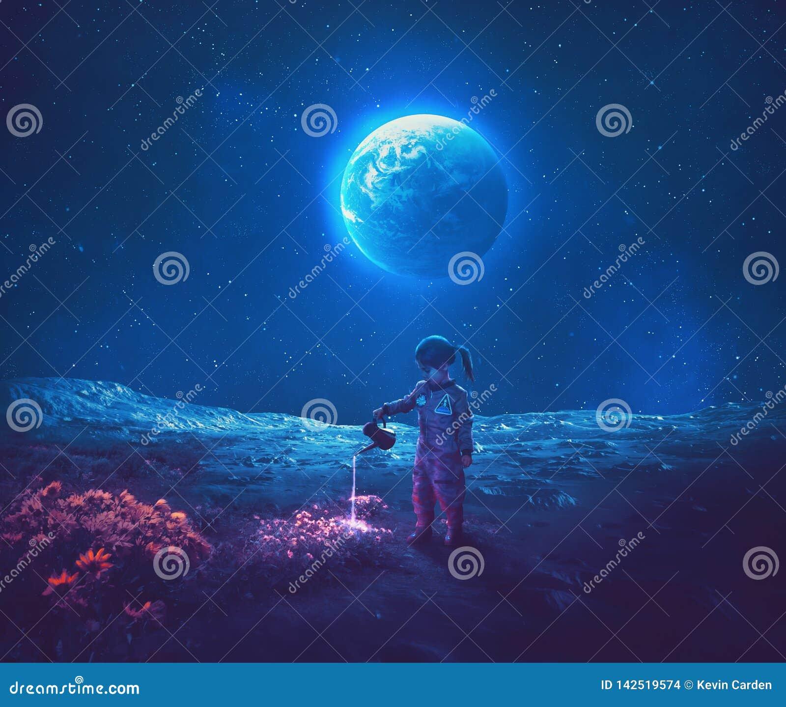 Agua de colada de la muchacha en las flores de la luna