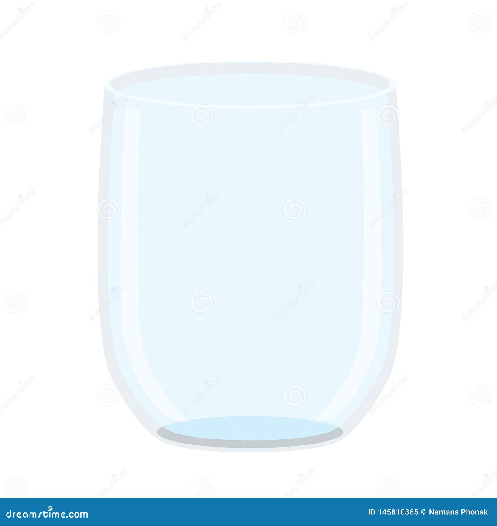 Agua potable de cristal vac?a en el vector blanco del ejemplo del fondo