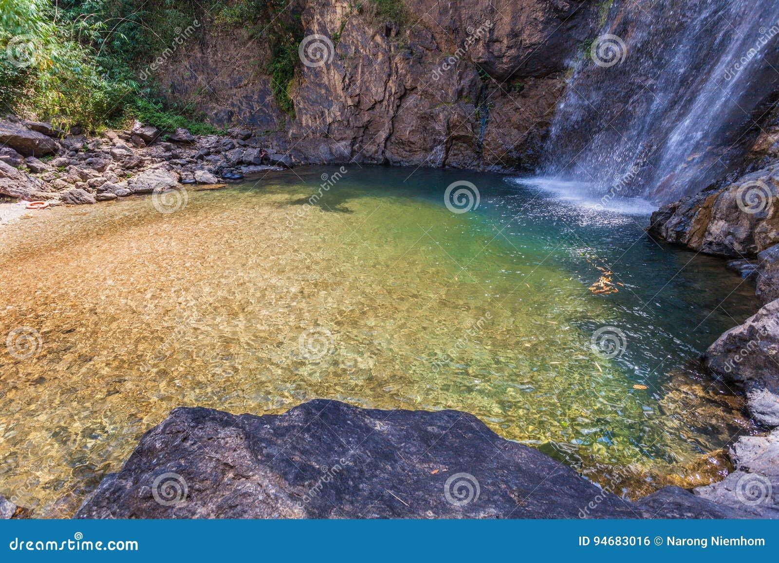 Agua Verde En La Piscina De La Cascada De Jokkradin Foto De Archivo