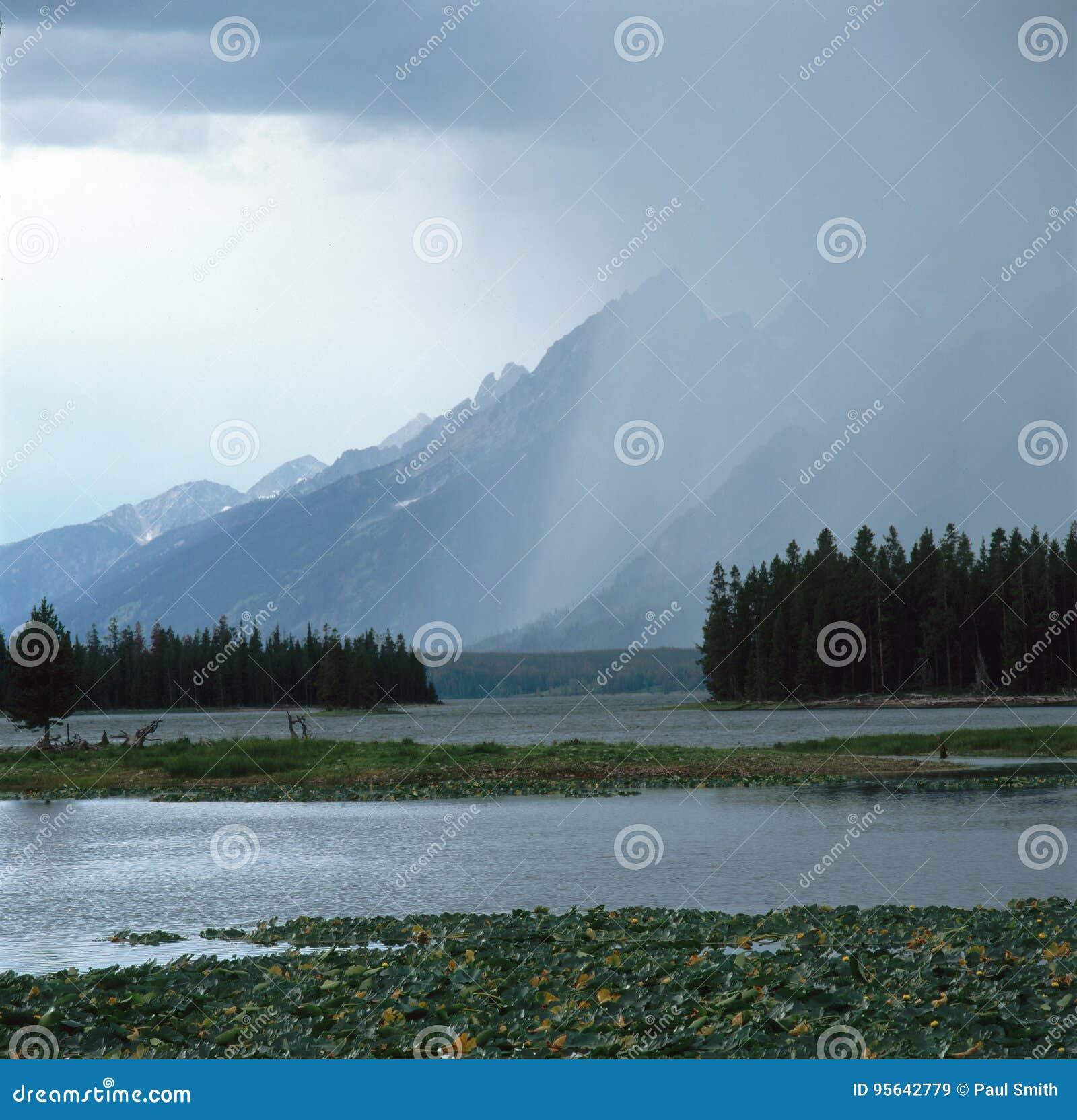 Aguacero en la gama de Teton del rastro de la charca de la garza, parque nacional magnífico de Teton, Wtoming