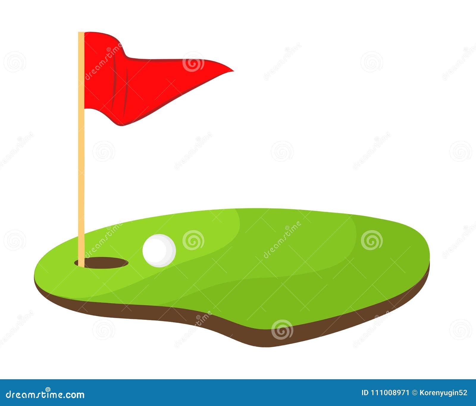 Agujeree el golf con la bandera roja y el ejemplo blanco del vector de la acción de la bola