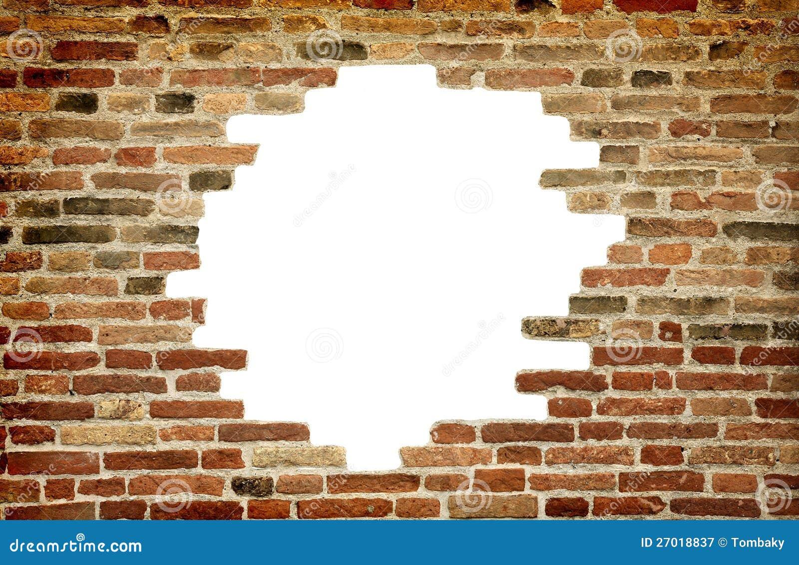 Agujero blanco en la pared vieja marco del ladrillo - Agujero en la pared ...