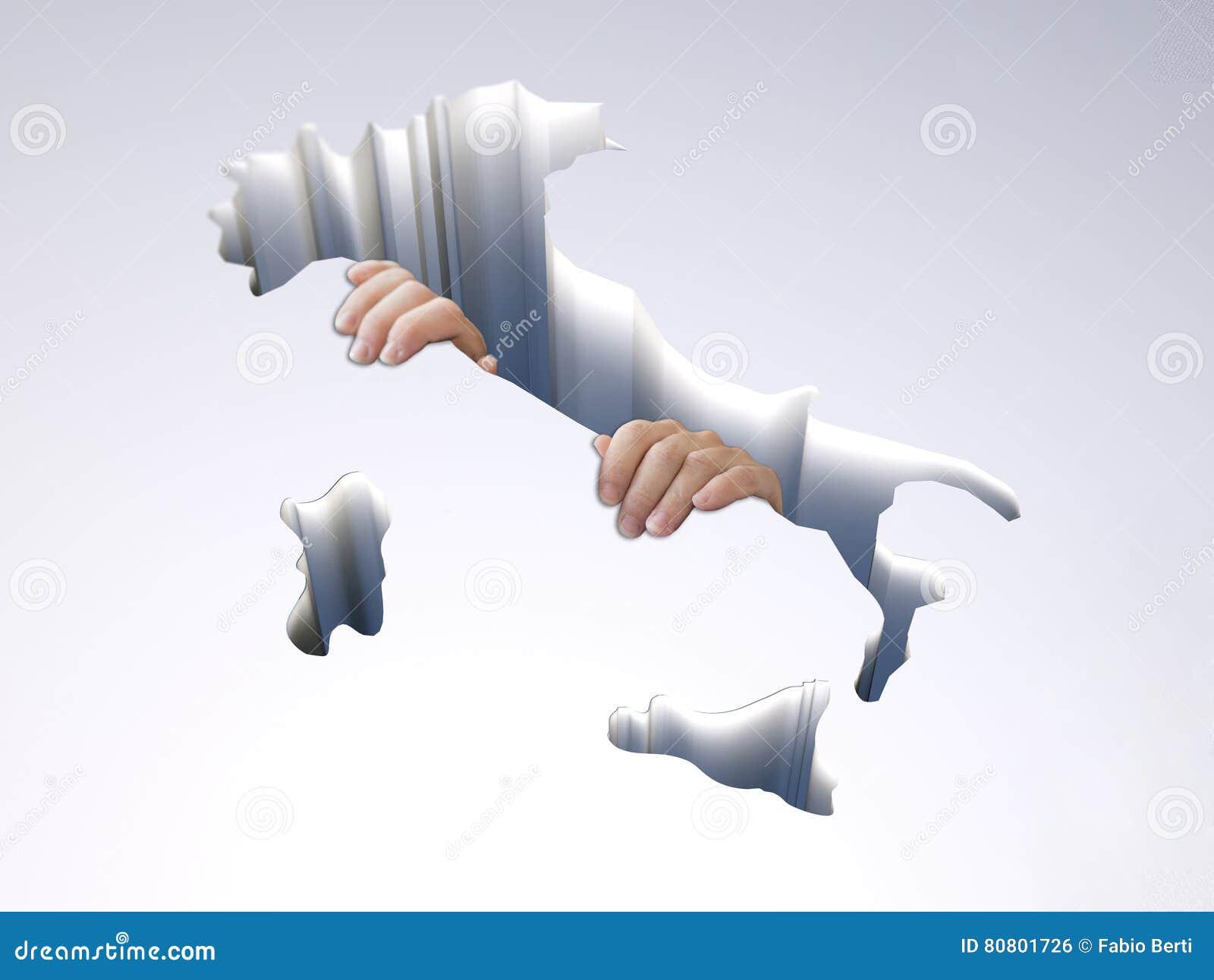 Agujero con un mapa de Italia con las manos que se aferran