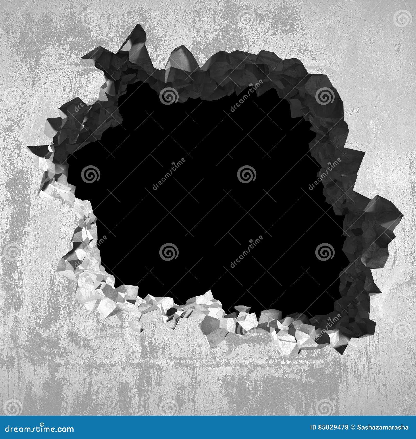 Agujero de la explosi n en pared agrietada concreta fondo - Agujero en la pared ...