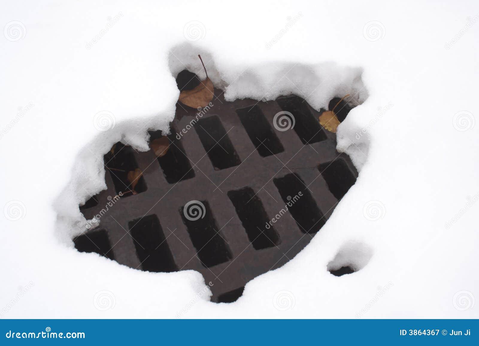 Agujero derretido en nieve