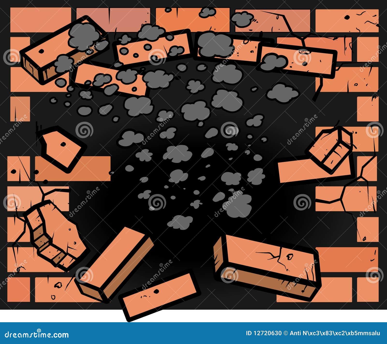 Agujero en pared de ladrillo foto de archivo imagen - Agujero en la pared ...