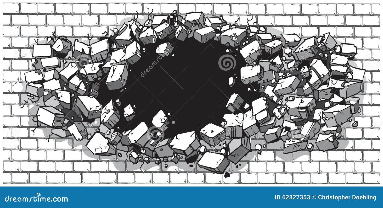 Agujero que se rompe a través de la pared de ladrillo ancha