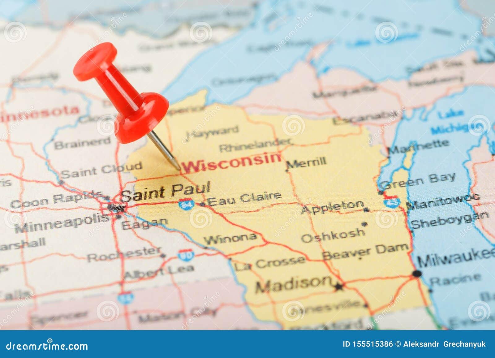 Agulha De Escritorio Vermelha Em Um Mapa De Eua De Wisconsin E Da Capital Madison Mapa Ascendente Proximo De Wisconsin Com Adere Foto De Stock Imagem De Capital Madison 155515386