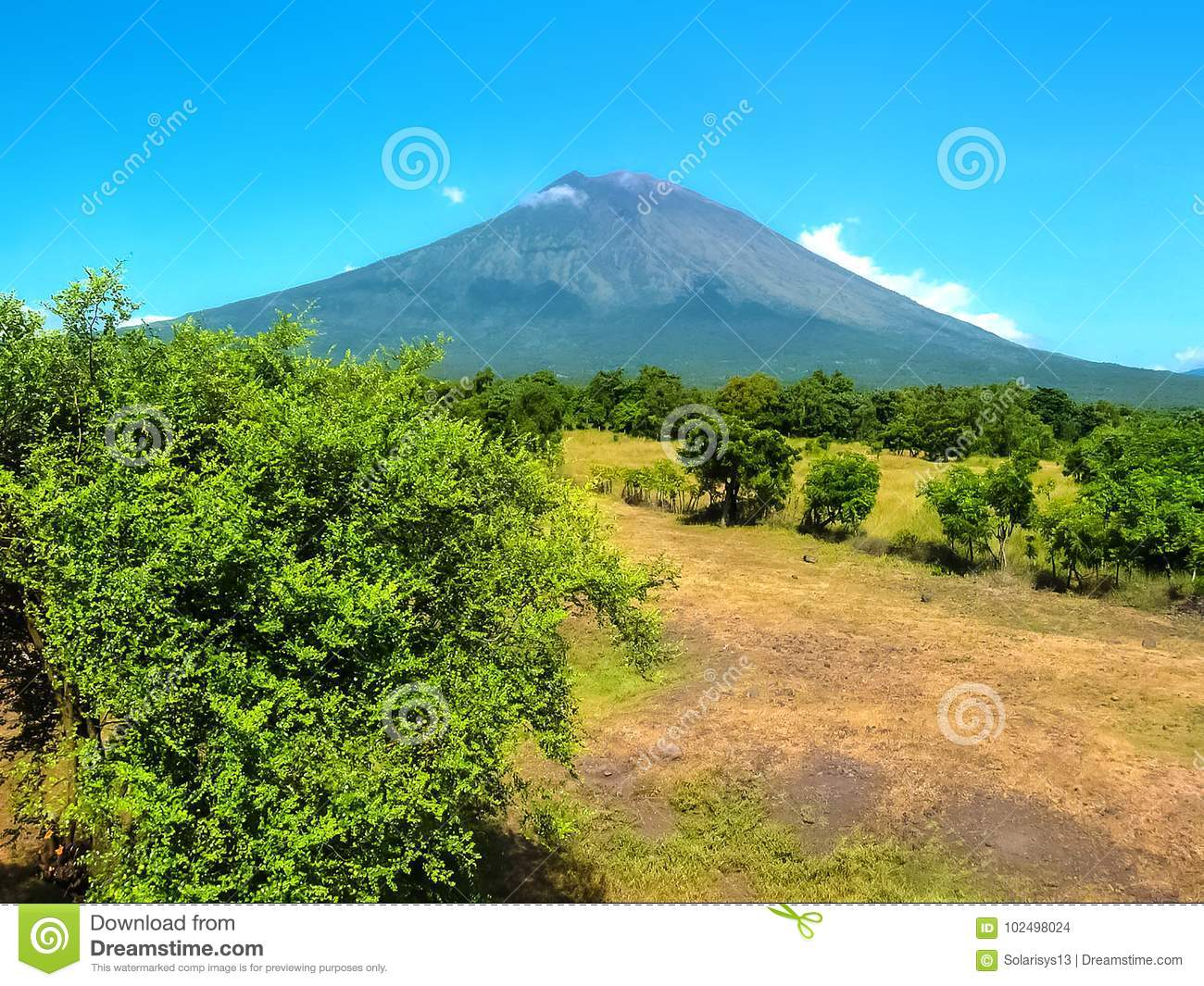 Agung Volcano Is The Highest Mountain On Bali Island Indonesia