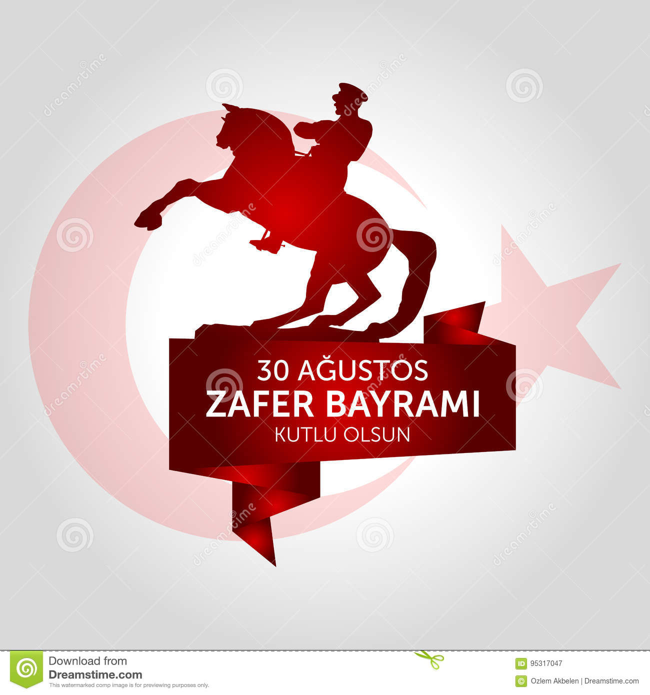 30 August, Victory Day Turkey celebration card.