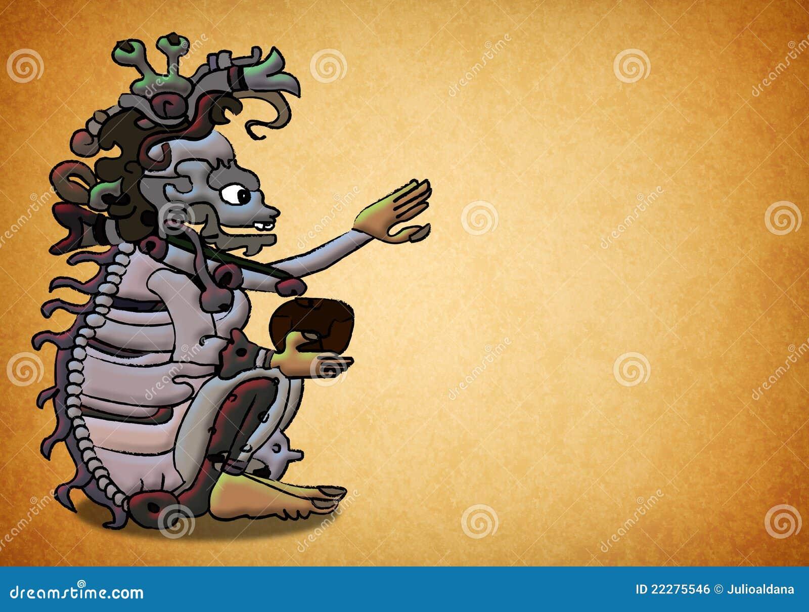 Ah Puch Ancient Mayan Aztec Deity Stock Illustration