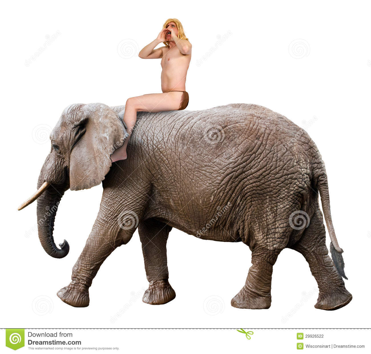 ... Photography: Tarzan Yell, King of Jungle, Man Ride Elephant, Isolated