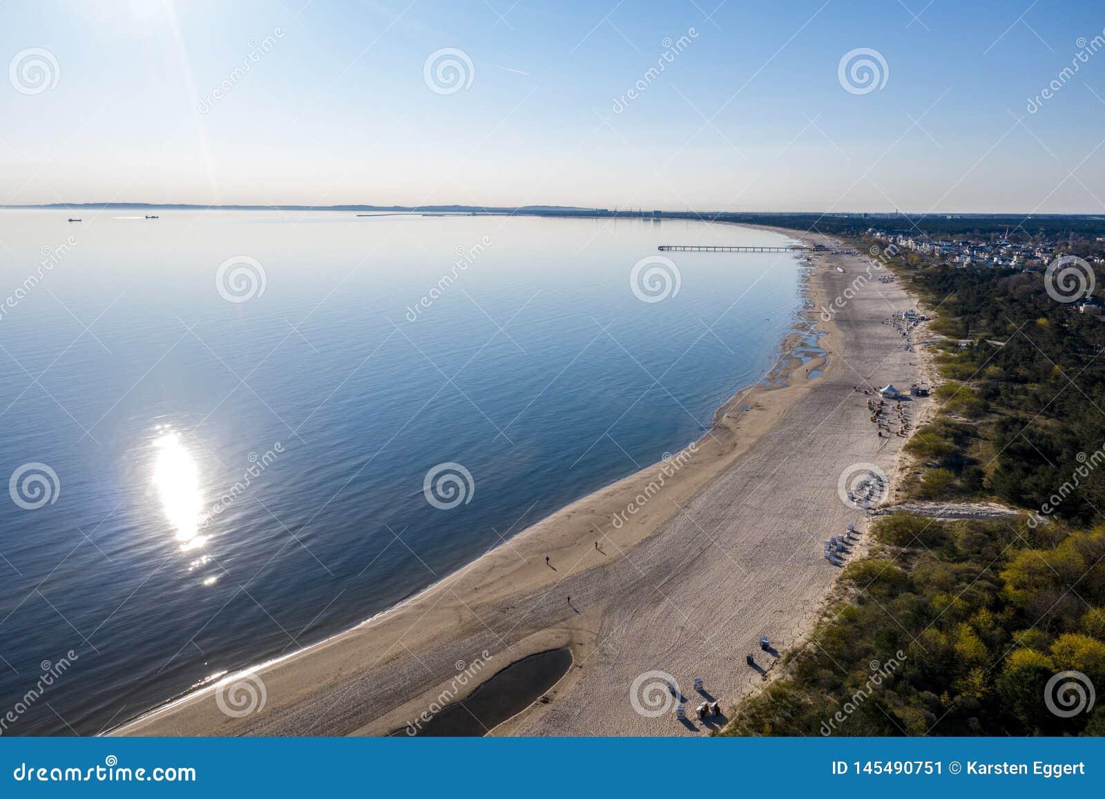 Ahlbeck, Usedom, natureza, fundo, verão, oceano, parte superior, zangão, água, pessoa, azul, bonito, feriado, antena, vista, p
