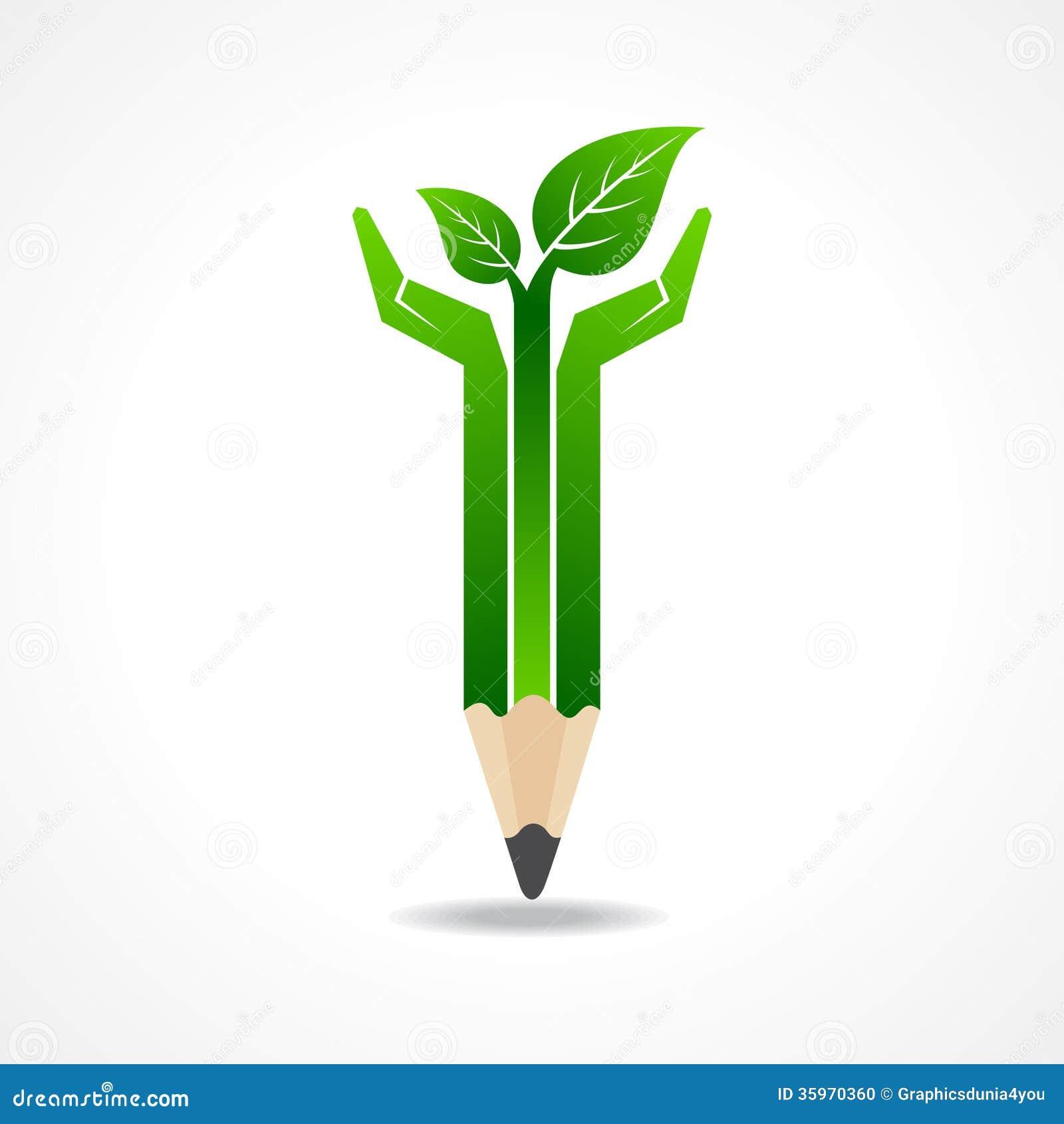 Ahorre el concepto de la naturaleza con las manos del lápiz