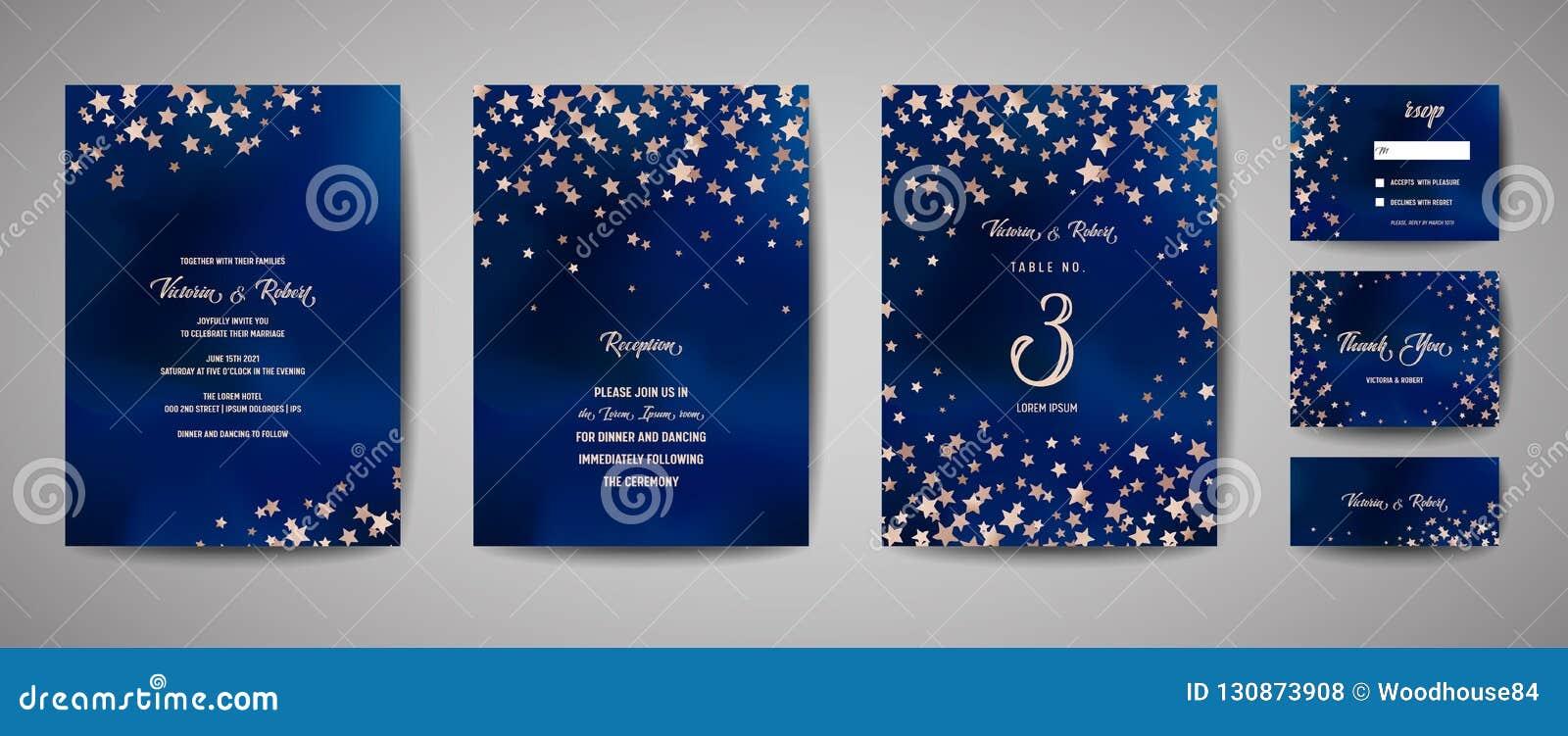 Ahorre el ejemplo del vector de la fecha con el cielo estrellado de la noche, estrella del banquete de boda celestial