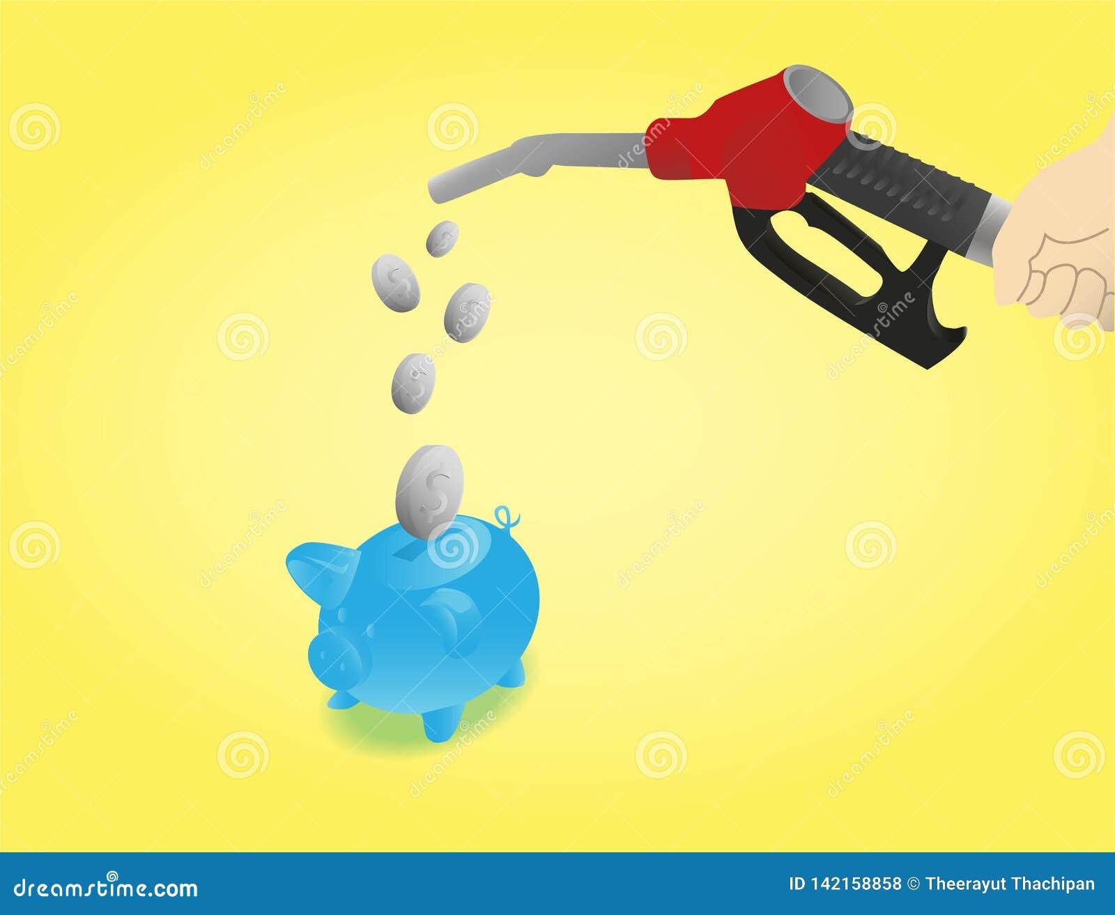 Ahorre en coste del combustible con el fondo amarillo