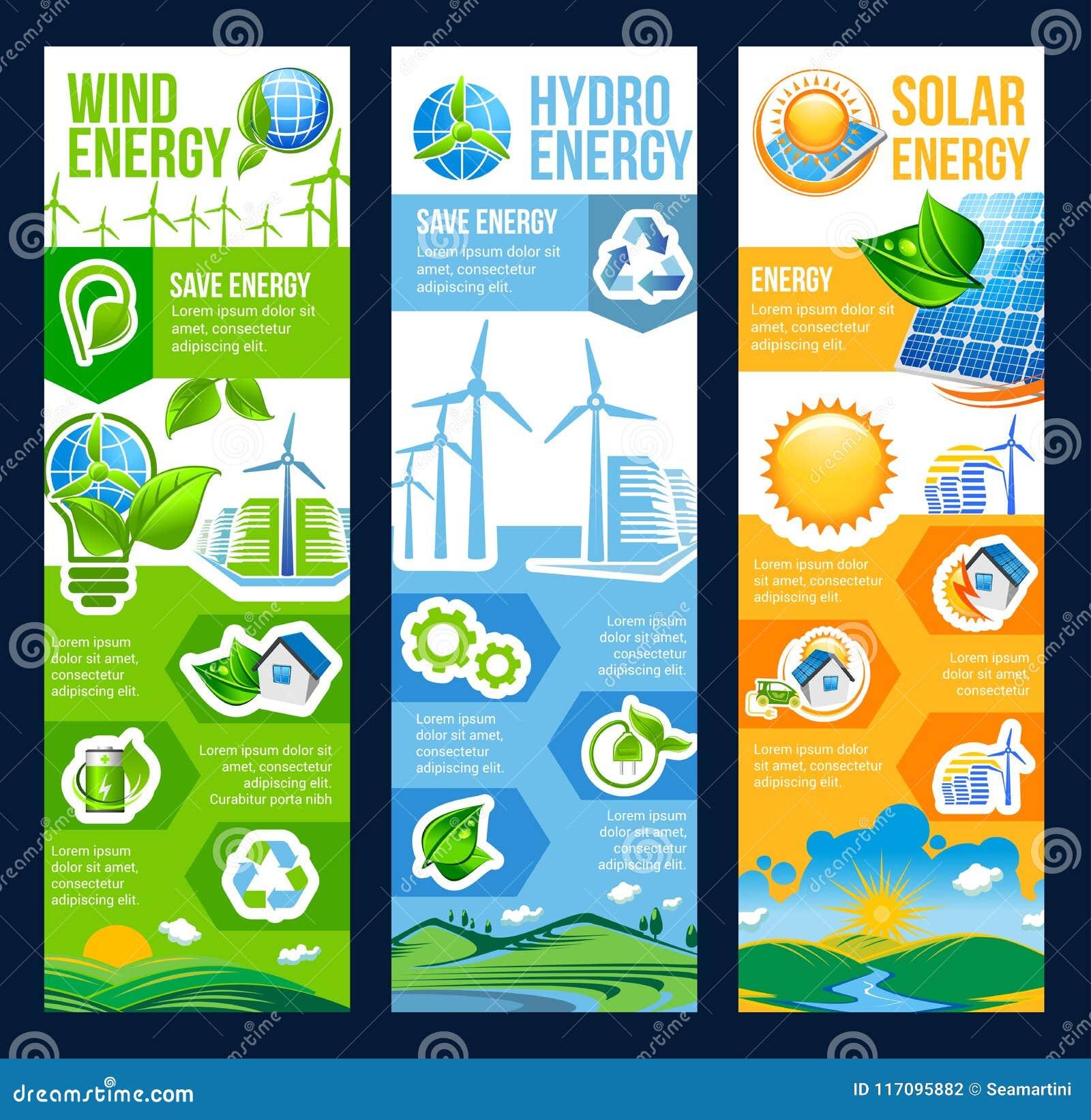 Ahorre la bandera de la energía de solar, del viento y del poder hidráulico