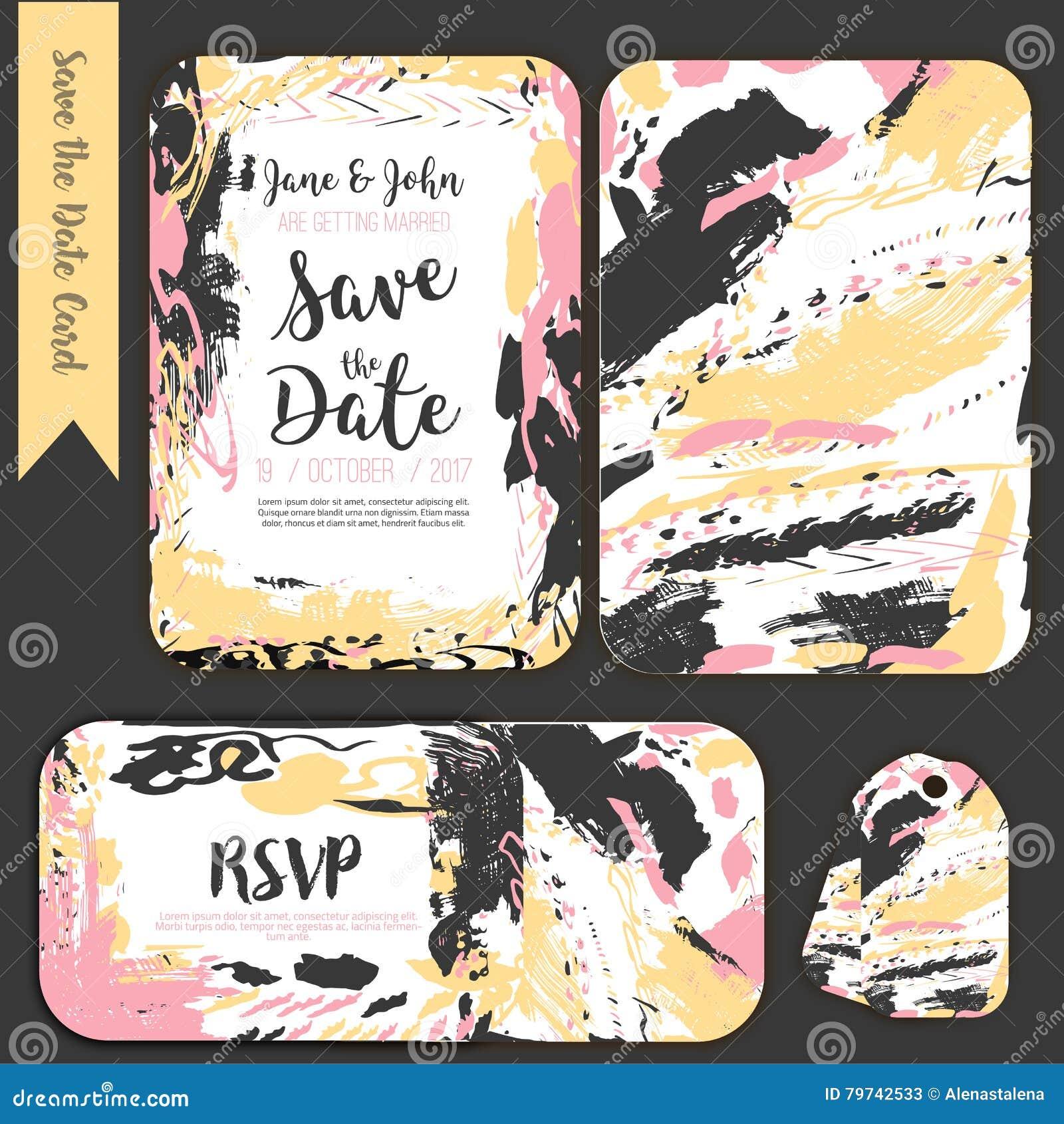 Ahorre la tarjeta a pulso de la fecha con el fondo dibujado mano Vector común moderno Diseño de la invitación con el menú y la ta