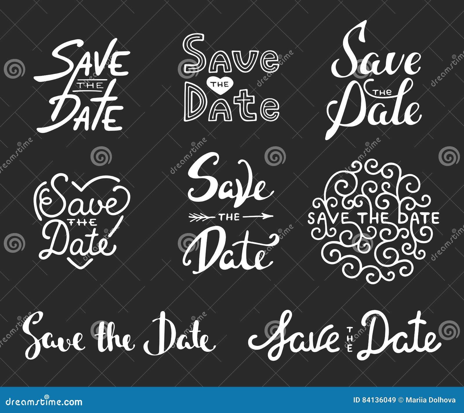 Ahorre las frases de la caligrafía de la fecha Letras únicas