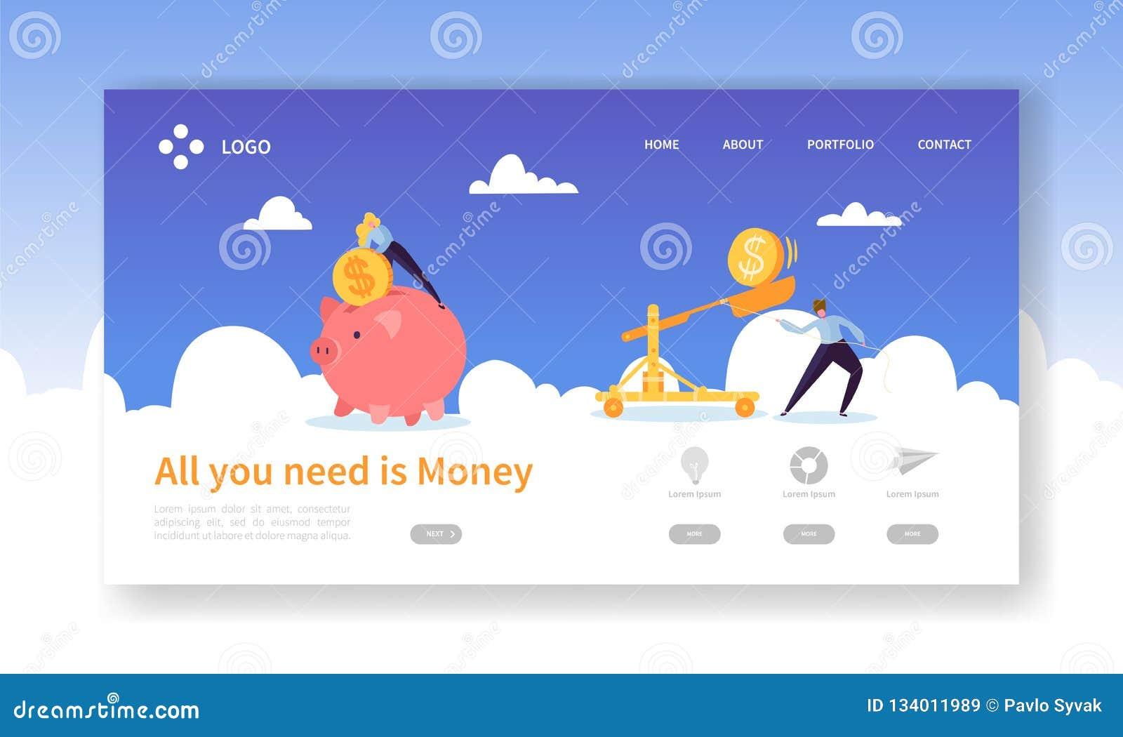 Ahorro del cerdo del dinero para la página del aterrizaje del beneficio Ganancia del depósito de las finanzas con el icono de la
