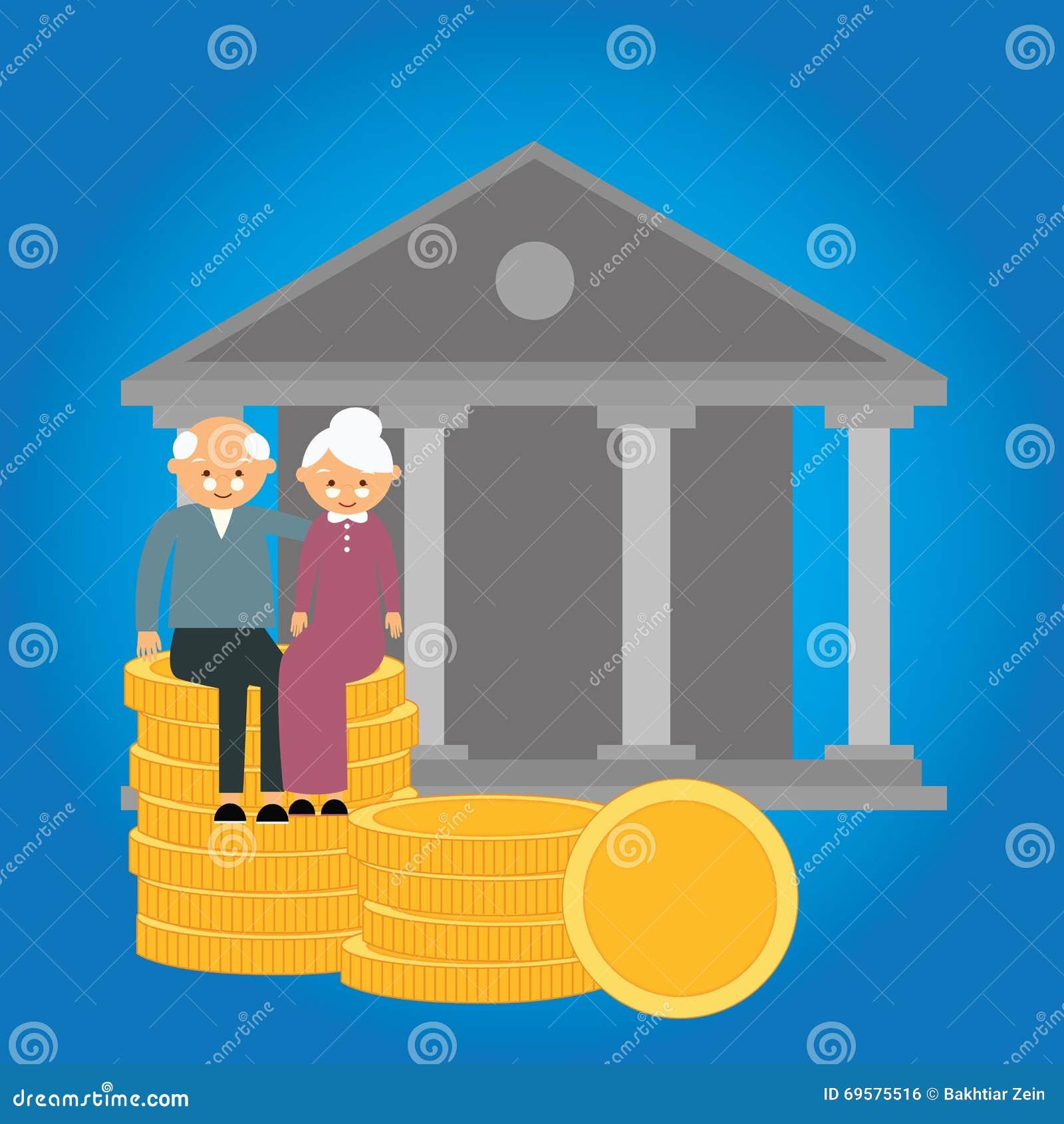 Ahorros mayores del dinero de la preparación de las finanzas de la inversión de la moneda de la caja de jubilación de la pensión