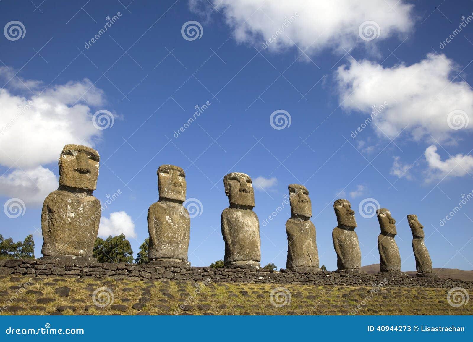 Ahu Akivi Moai, Easter Island, Chile.