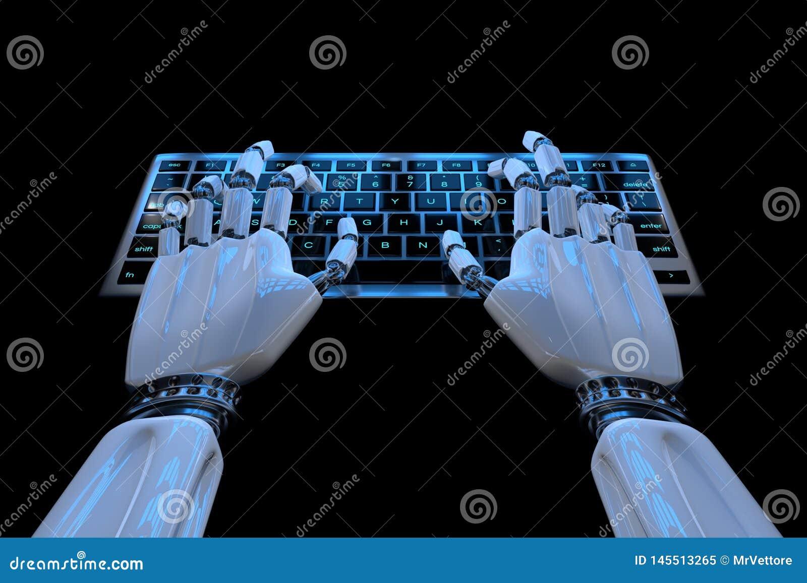 Ai уча руки робота концепции печатая на клавиатуре, кнопочной панели Робототехнический киборг руки используя компьютер 3d предста