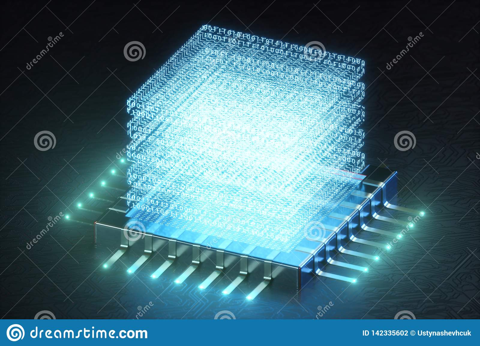 AI - artificial intelligence concept. Hologram above CPU. Machine learning. Central Computer Processors on the circuit