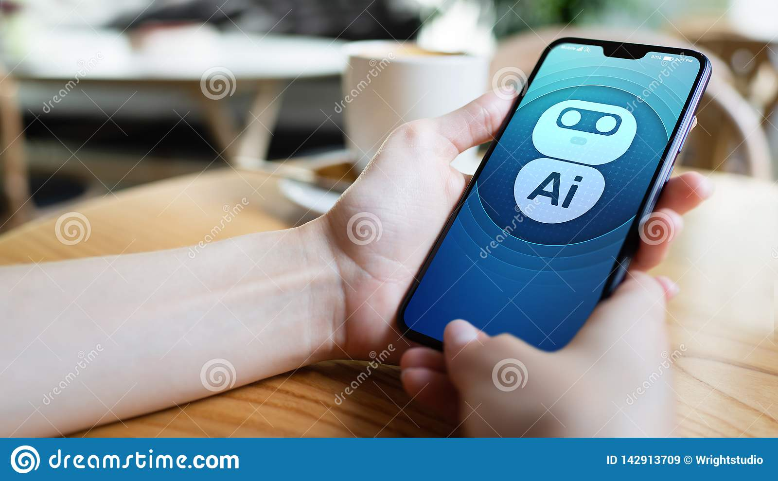 AI Artificial intelligence Deep machine learning concept. Robot icon on mobile phone screen.