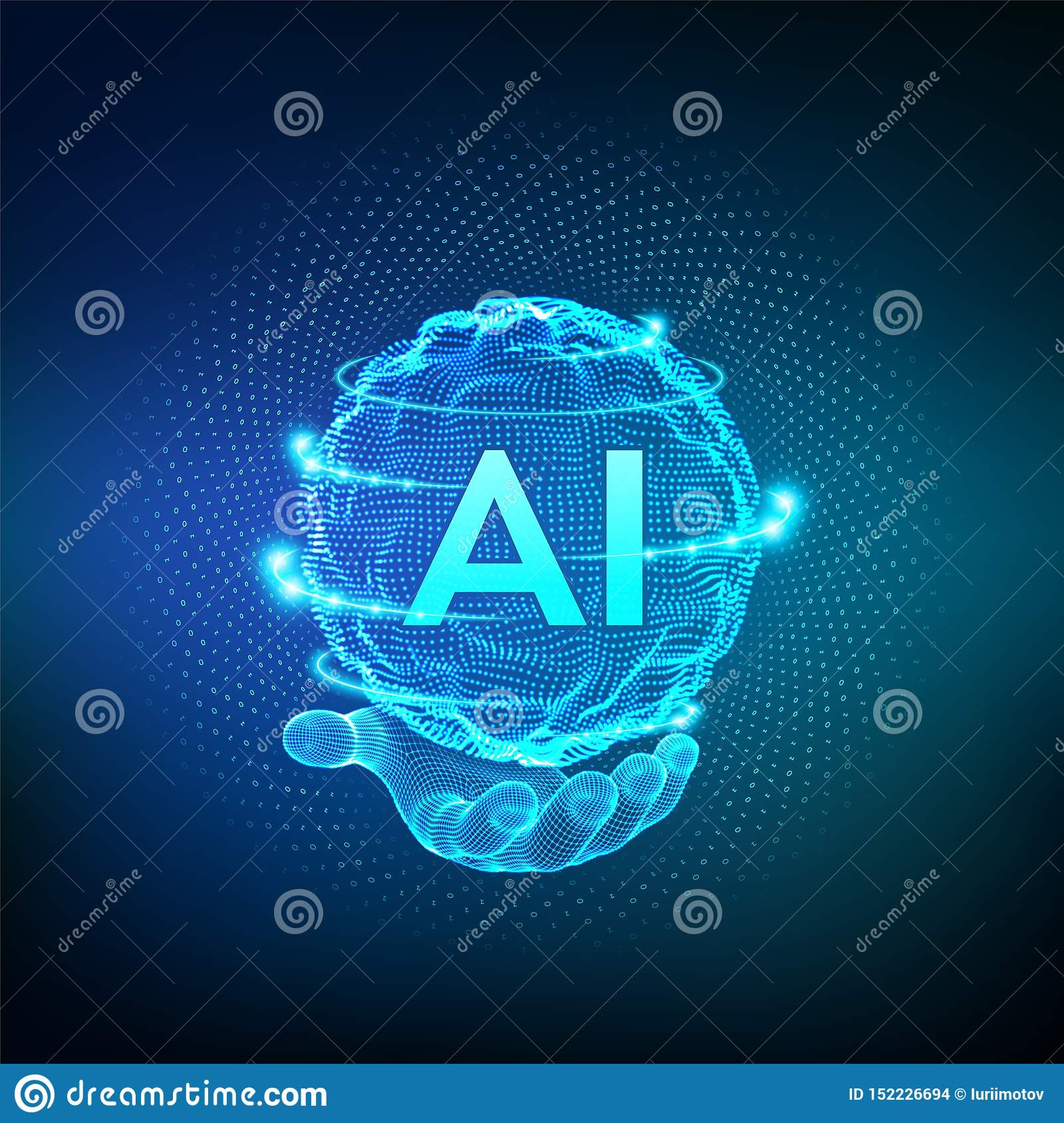 AI . Artificial Intelligence Logo In Hand. Artificial